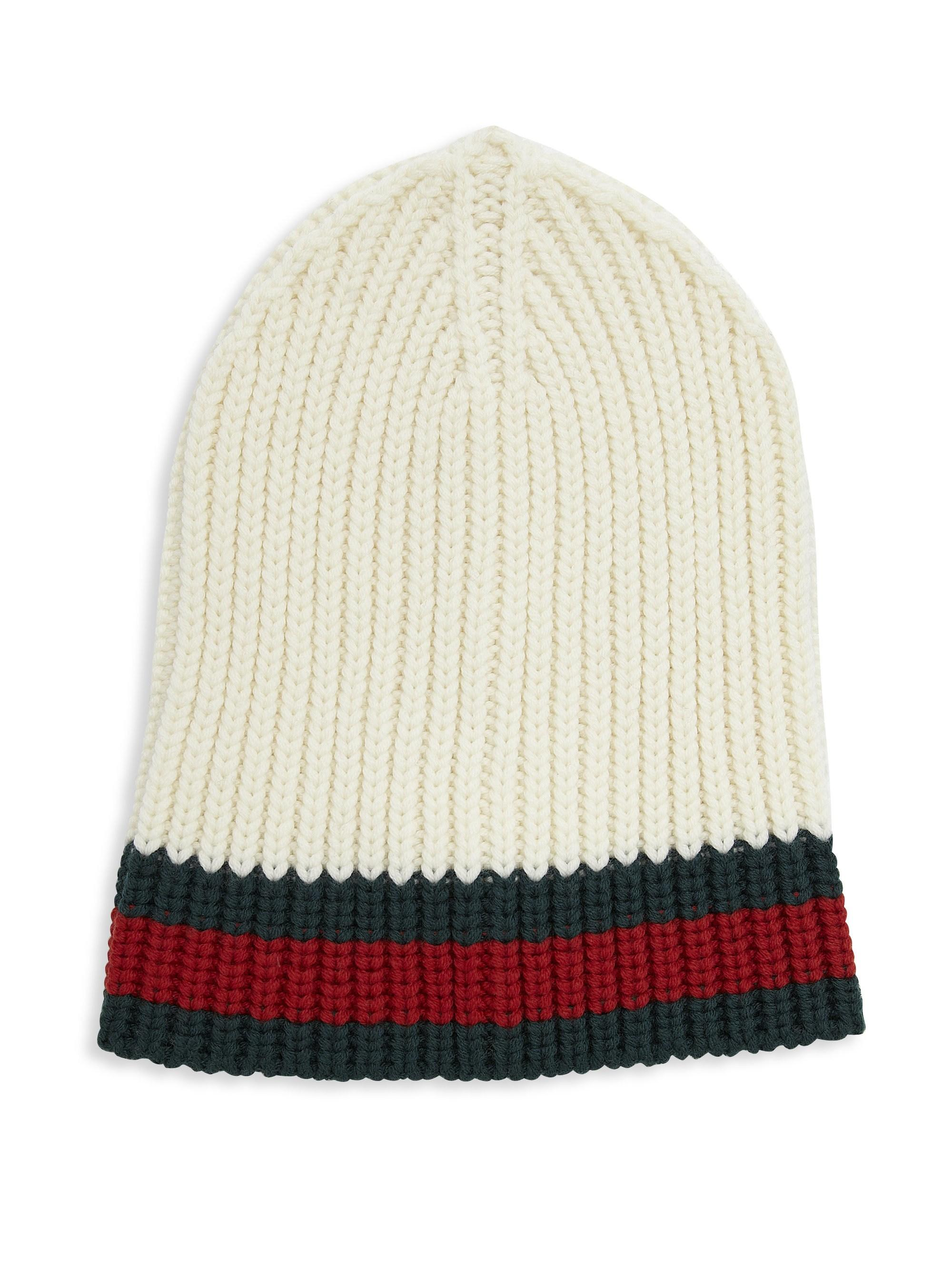 Lyst - Gucci Charui Striped Wool Hat in White for Men e7be6d70278