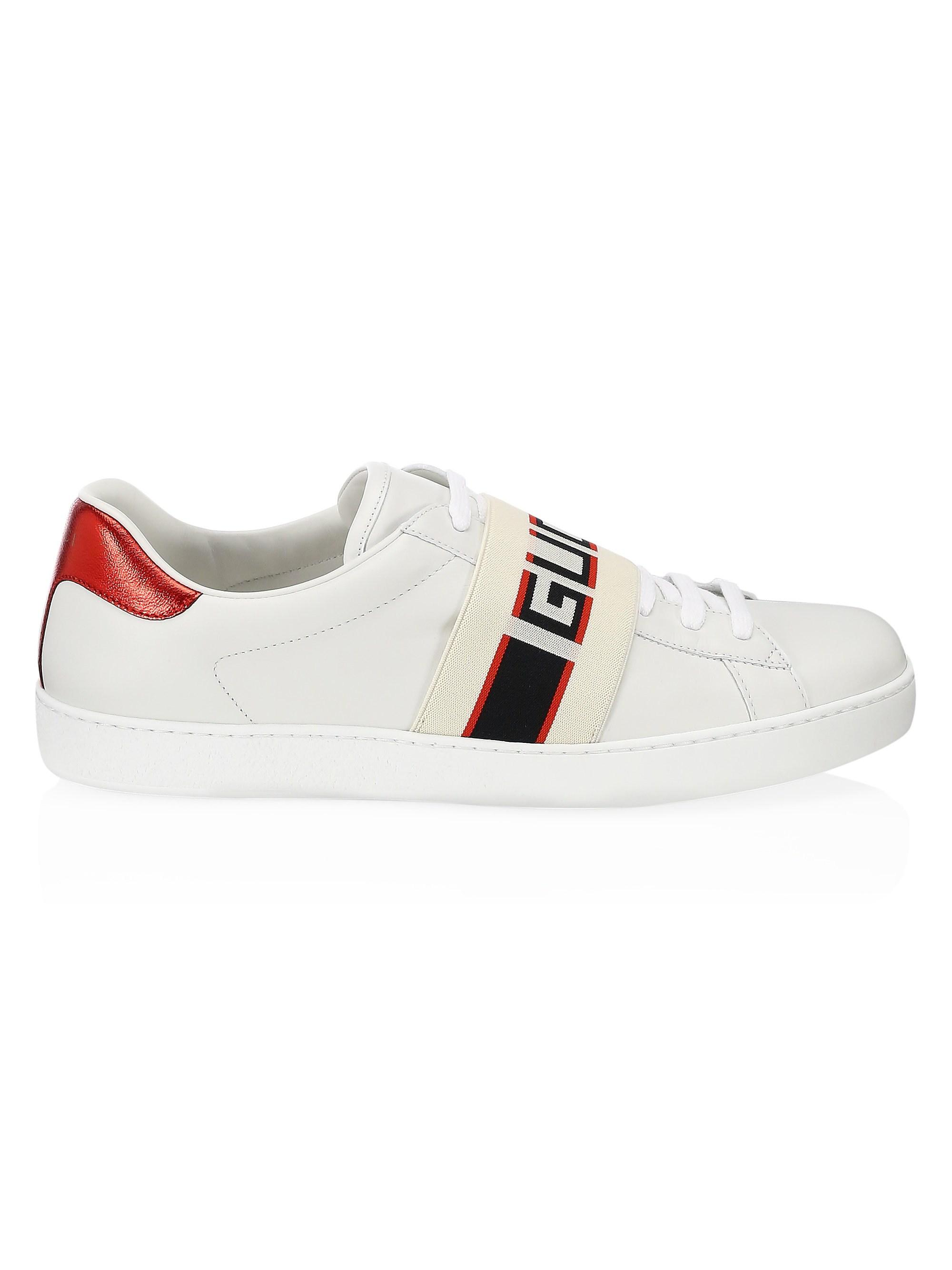 27942aafb0a Lyst - Gucci New Ace Stripe Leather Sneaker in White for Men