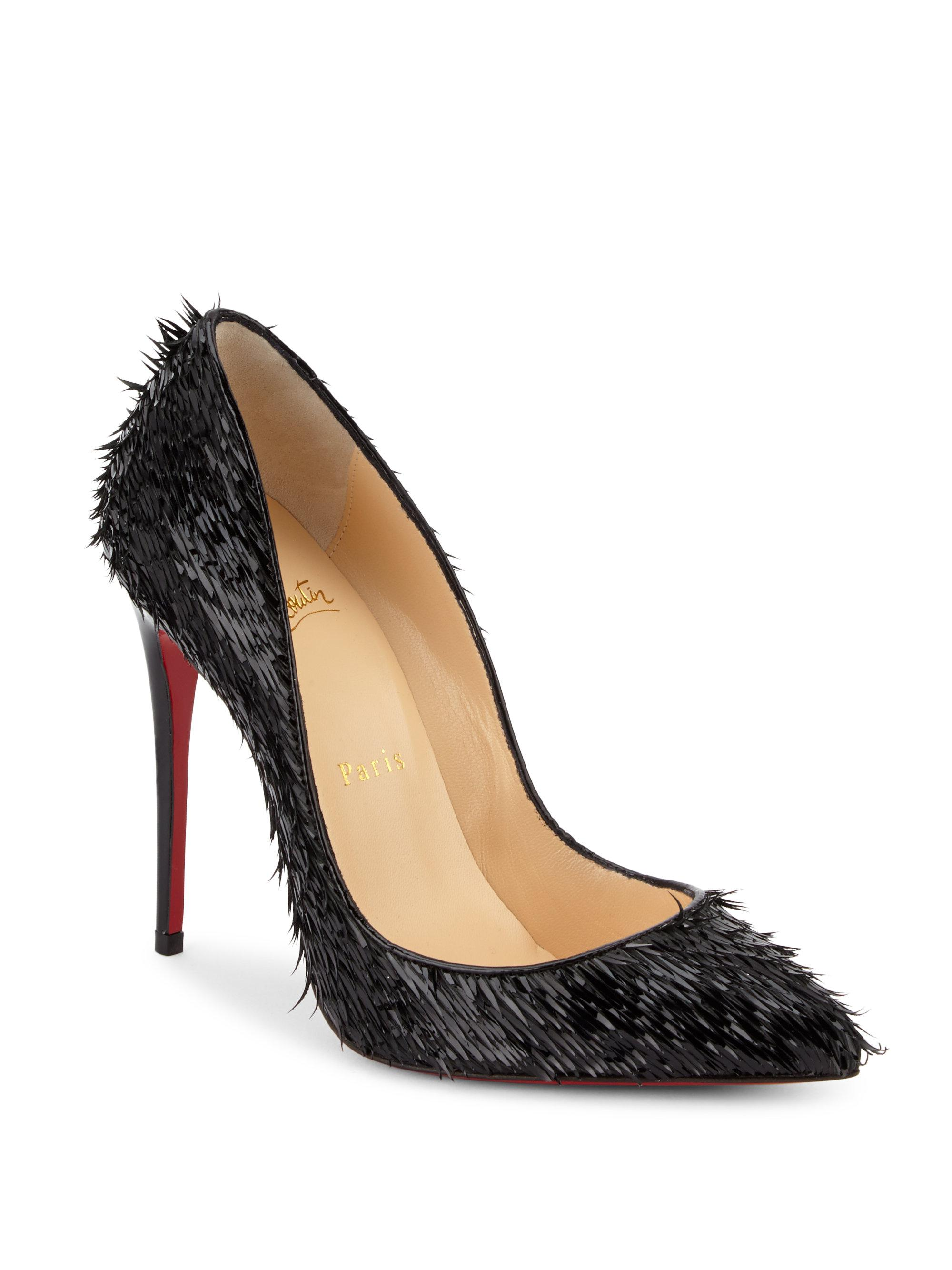 54b604d45c8 Christian Louboutin Black Pigalle Follies 100 Fringed Patent-leather Pumps