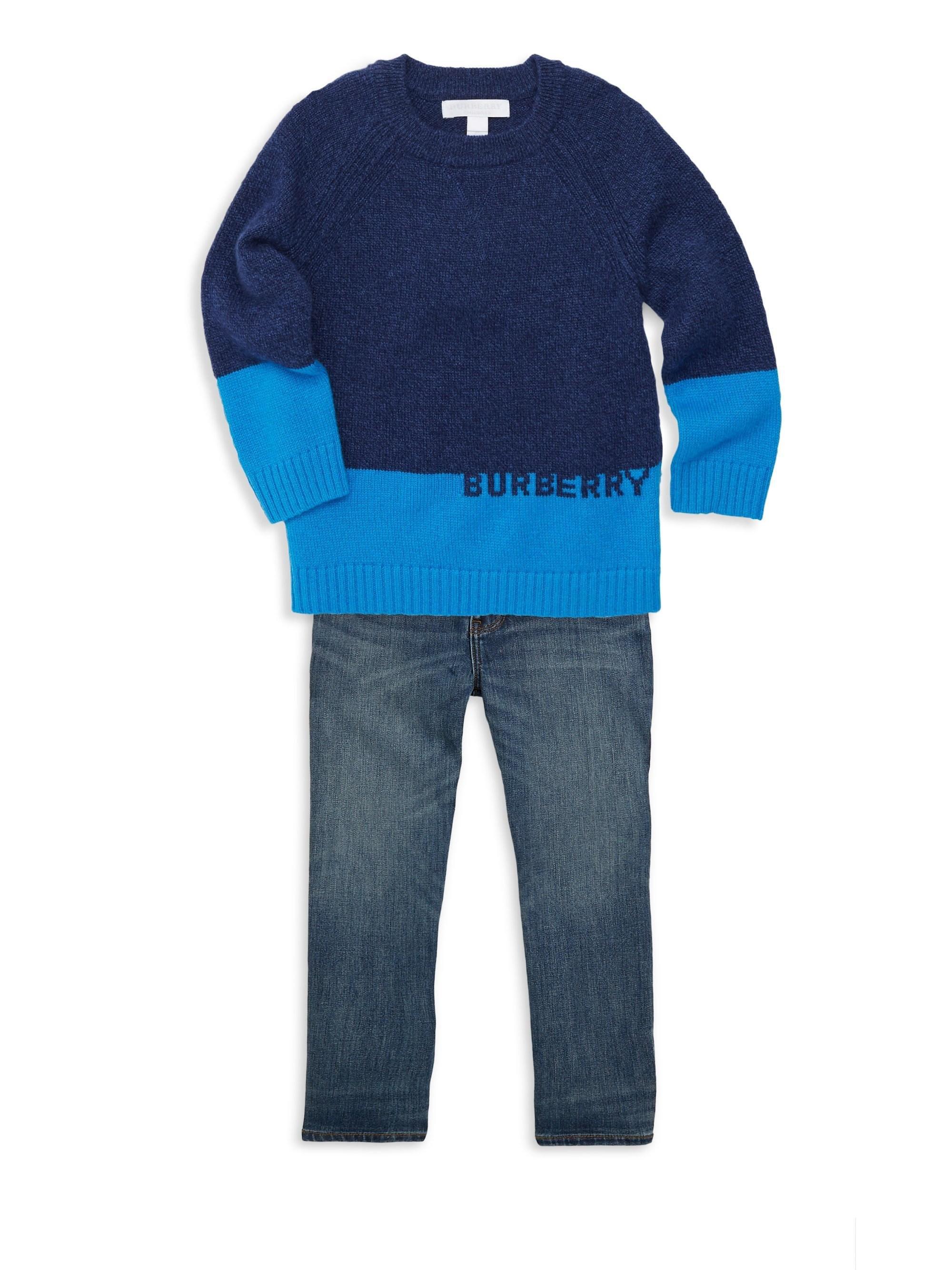 564a94ea0c5ec Burberry - Blue Little Boy s   Boy s Logo Intarsia Cashmere Sweater for Men  - Lyst. View fullscreen