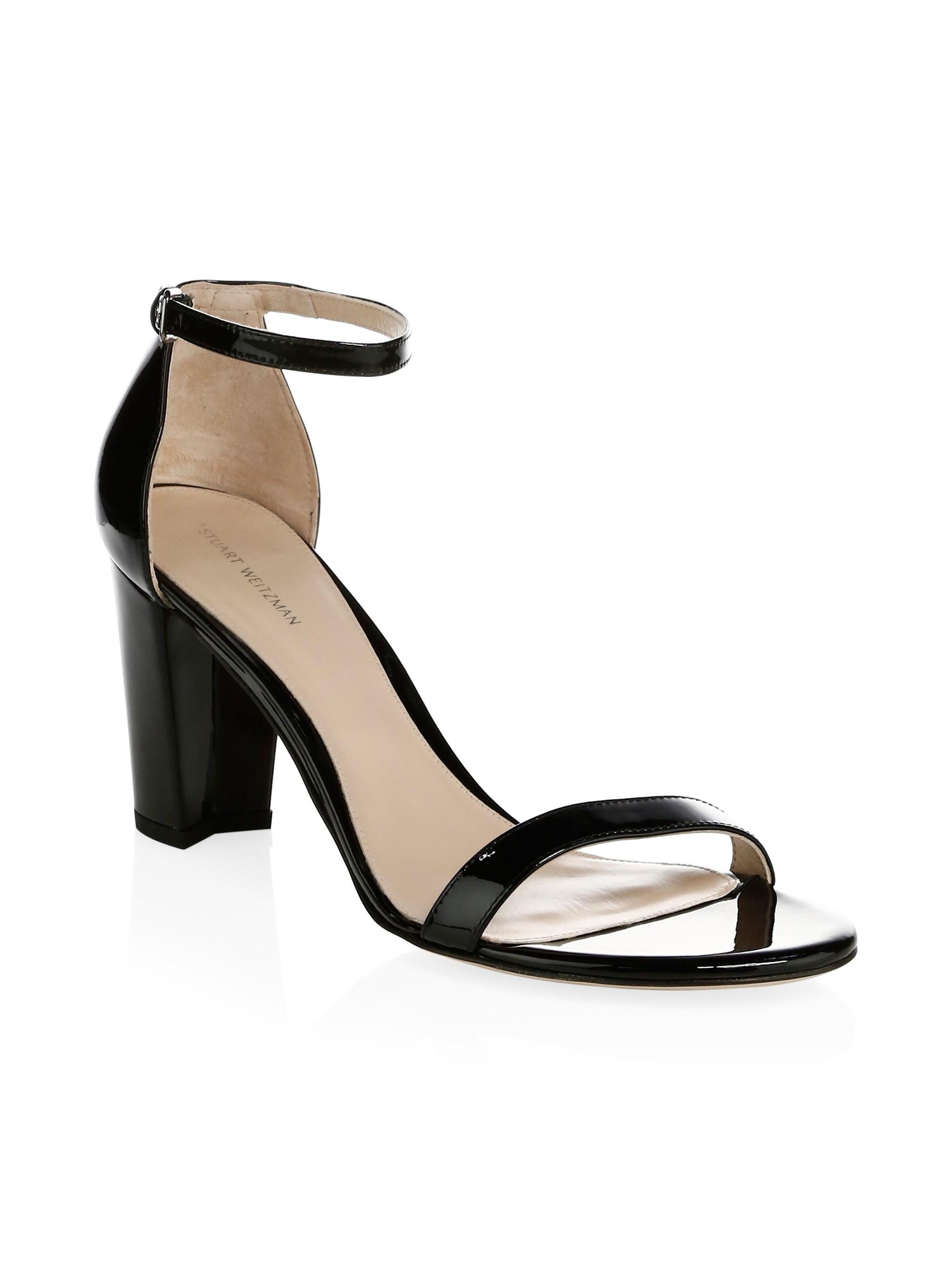 5036bbaf5bf5 Lyst - Stuart Weitzman Nearlynude Patent Leather Block Heel Sandals ...
