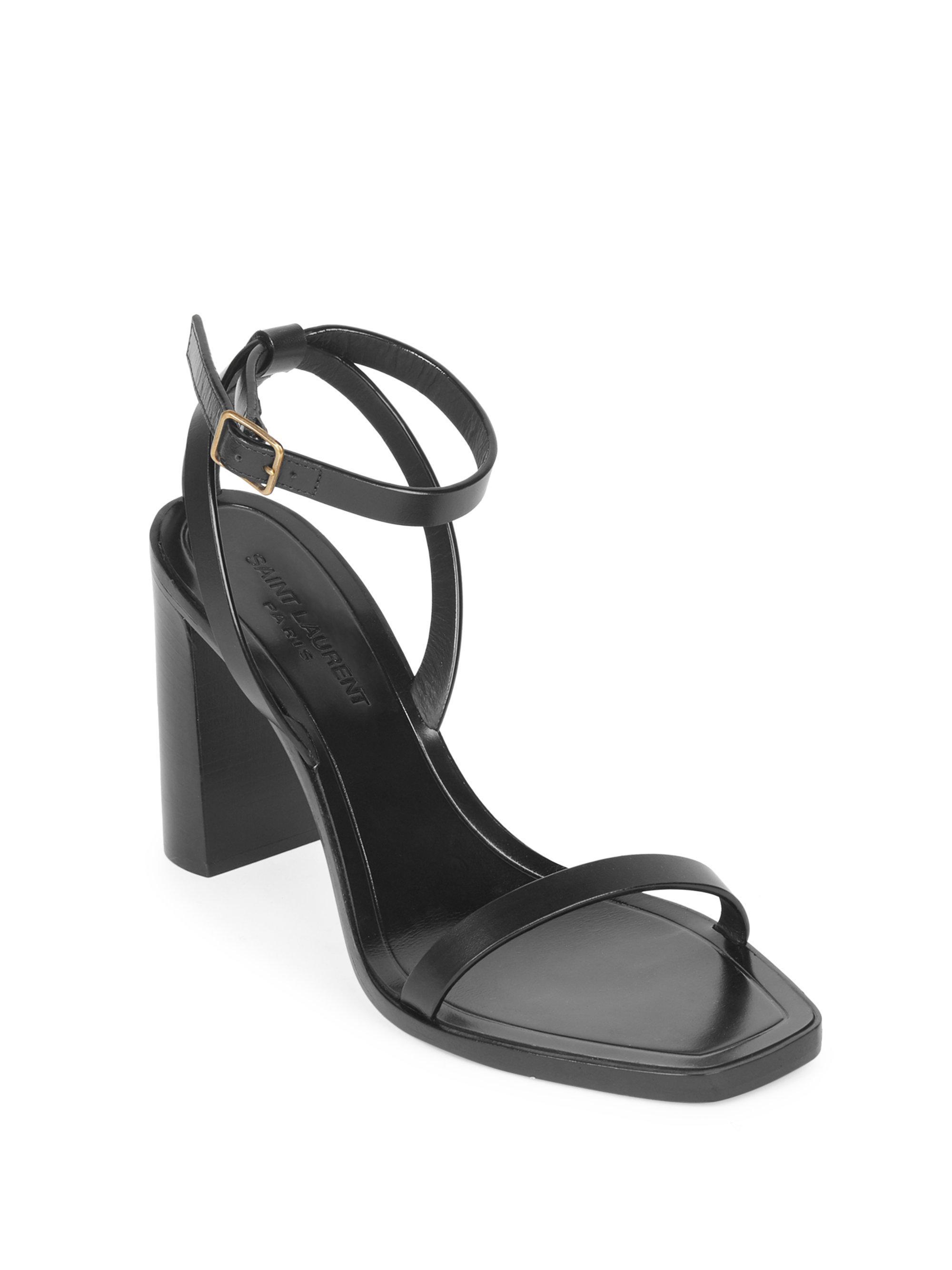 393e41acf29 Saint Laurent Women s Loulou Ankle-strap Leather Sandals - Blanco ...