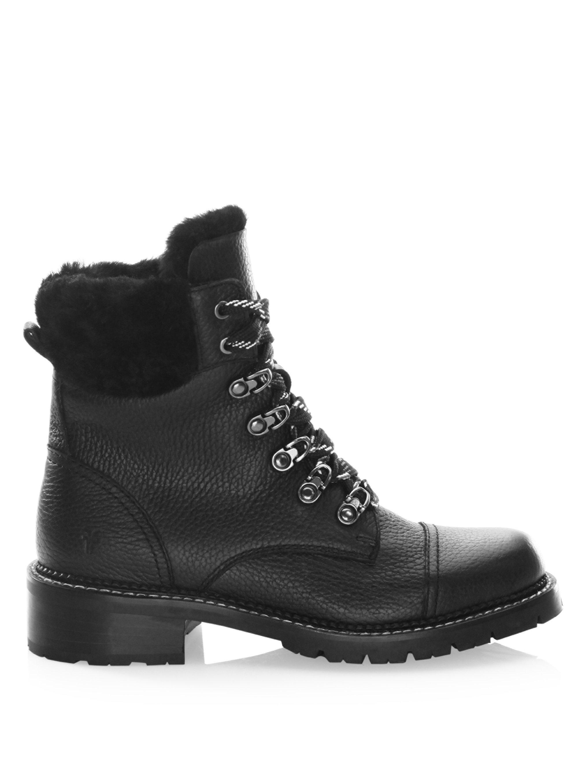 23efb4c2b45 Frye Black Samantha Shearling & Leather Hiker Boots