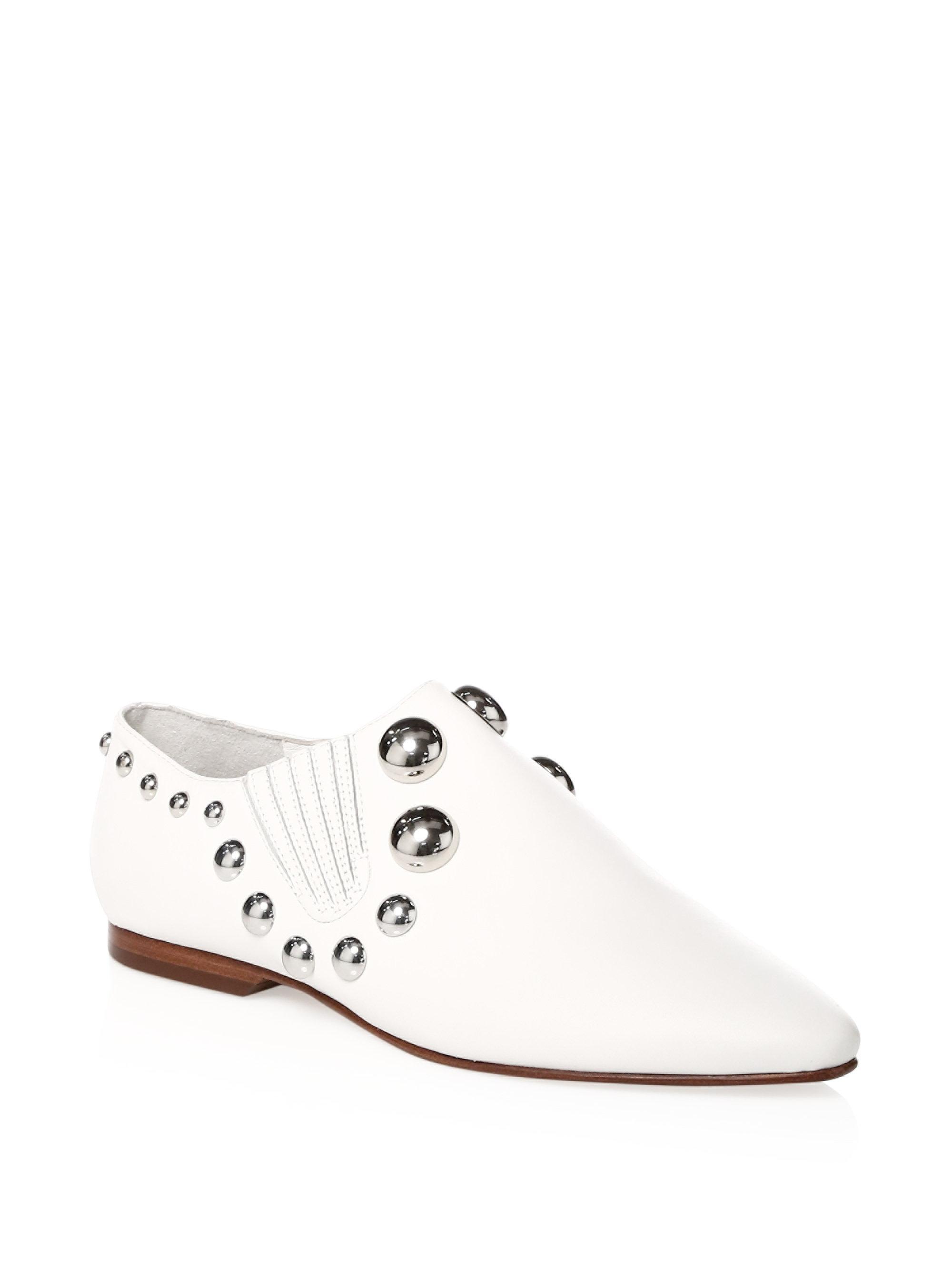 Tory Burch Blythe Studded Leather Point-Toe Loafers N7AR2O7jl