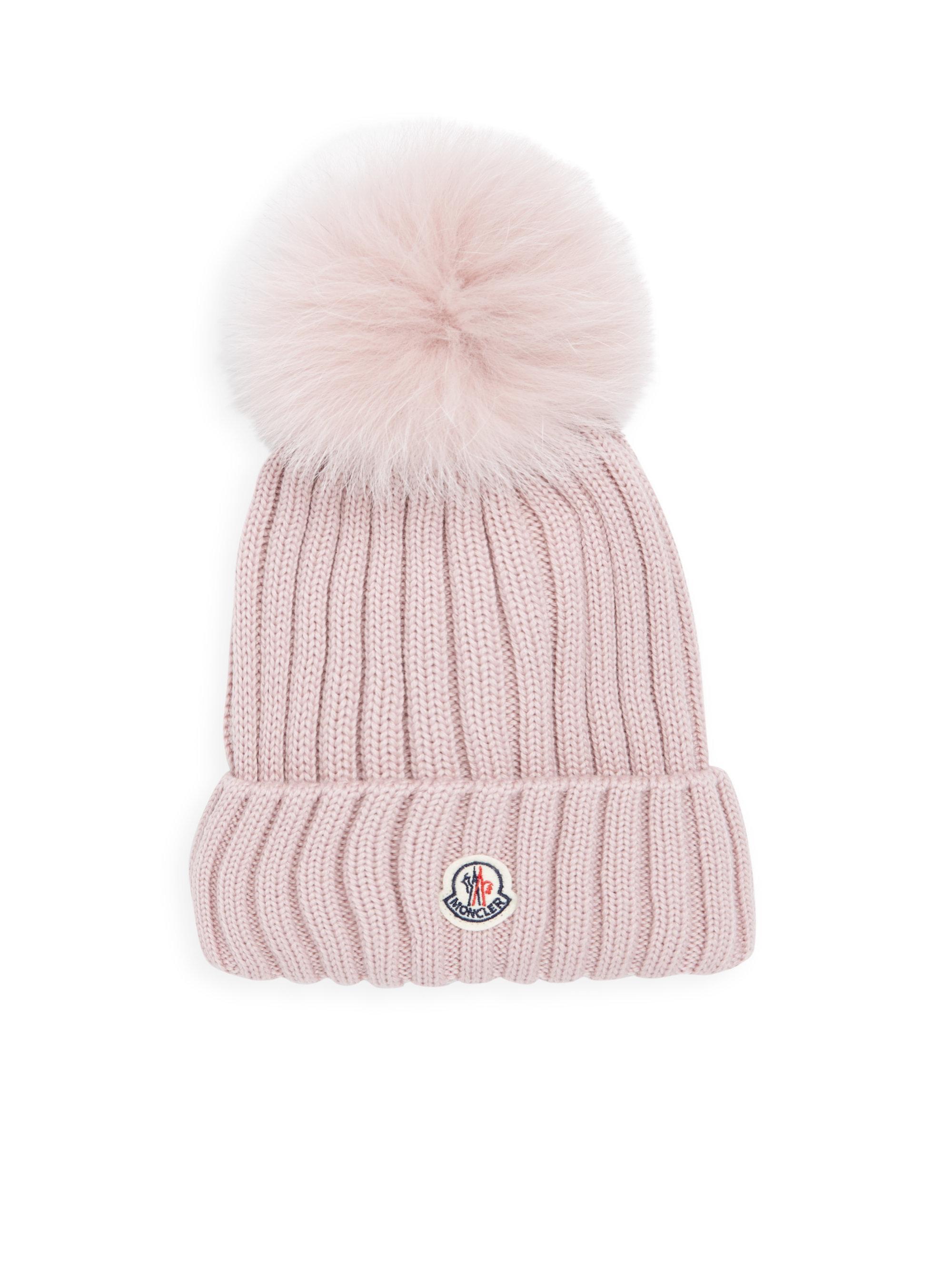 Lyst - Moncler Wool Fur Pom Hat in Pink 56c51f2b2163