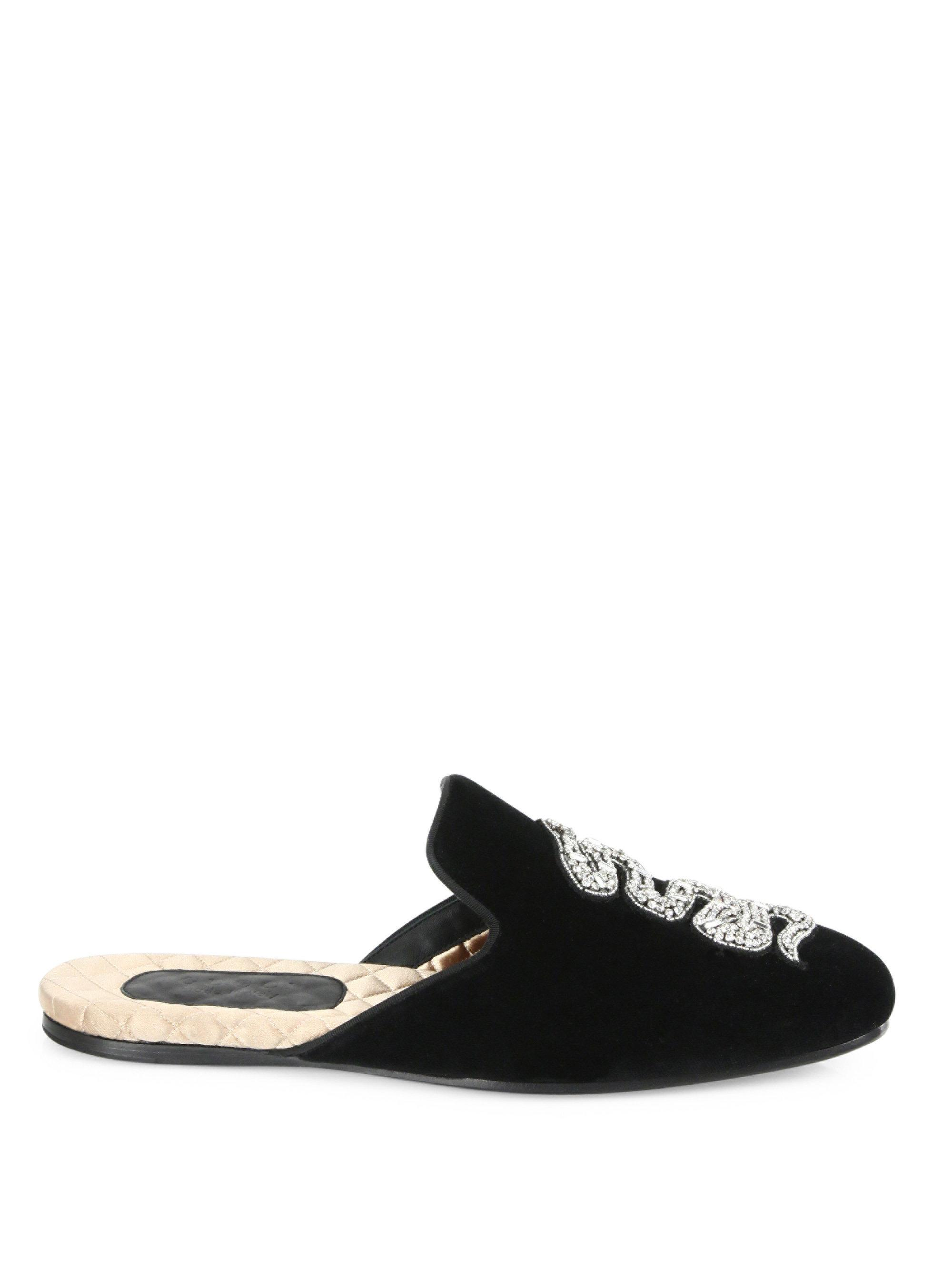 beb4c52ac78 Lyst - Gucci Snake-embroidered Velvet Evening Slippers in Black