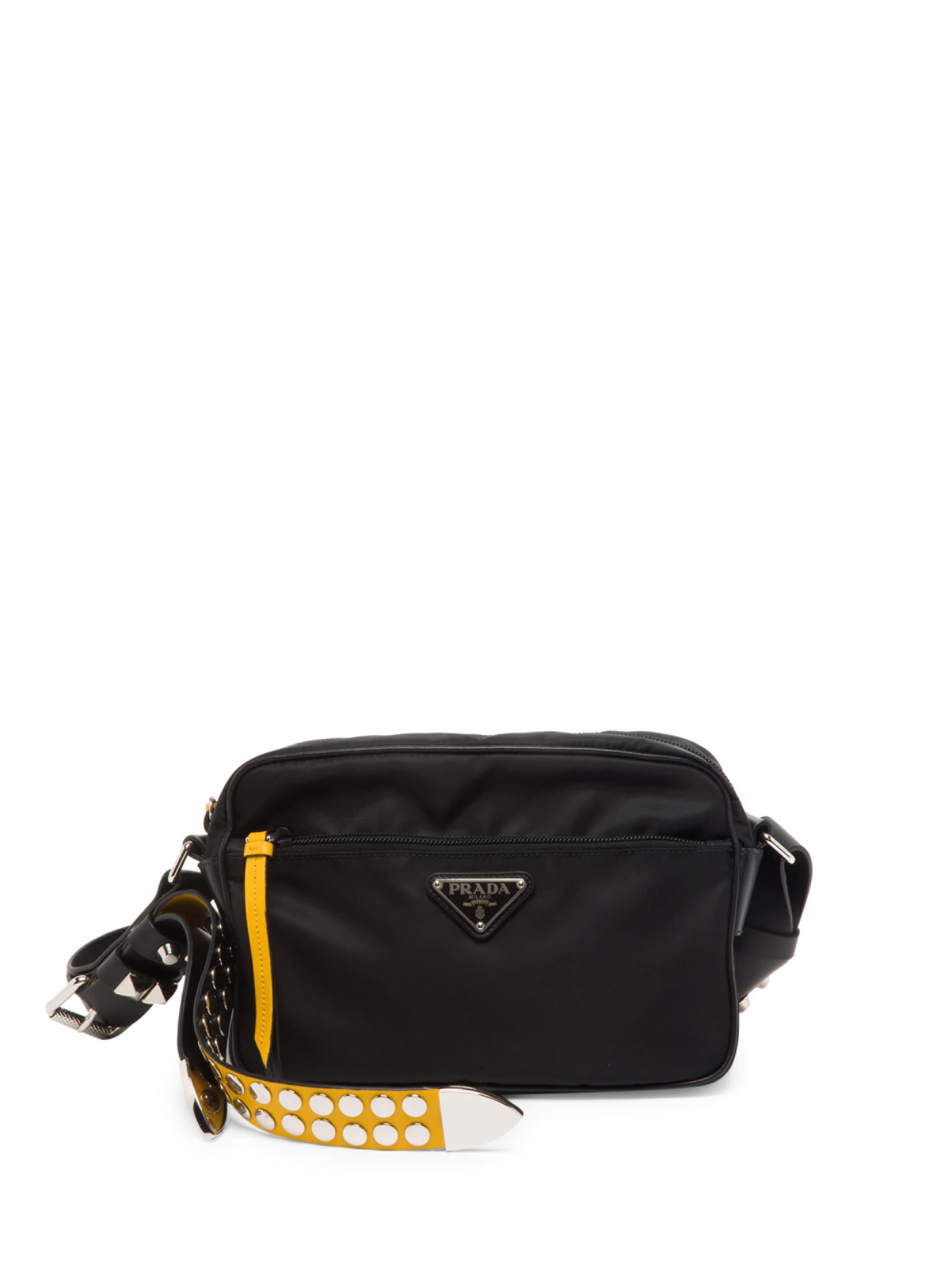 9db750109d99 ... new zealand sweden prada black nylon shoulder bag with studding lyst.  view fullscreen ecee4 5d90a