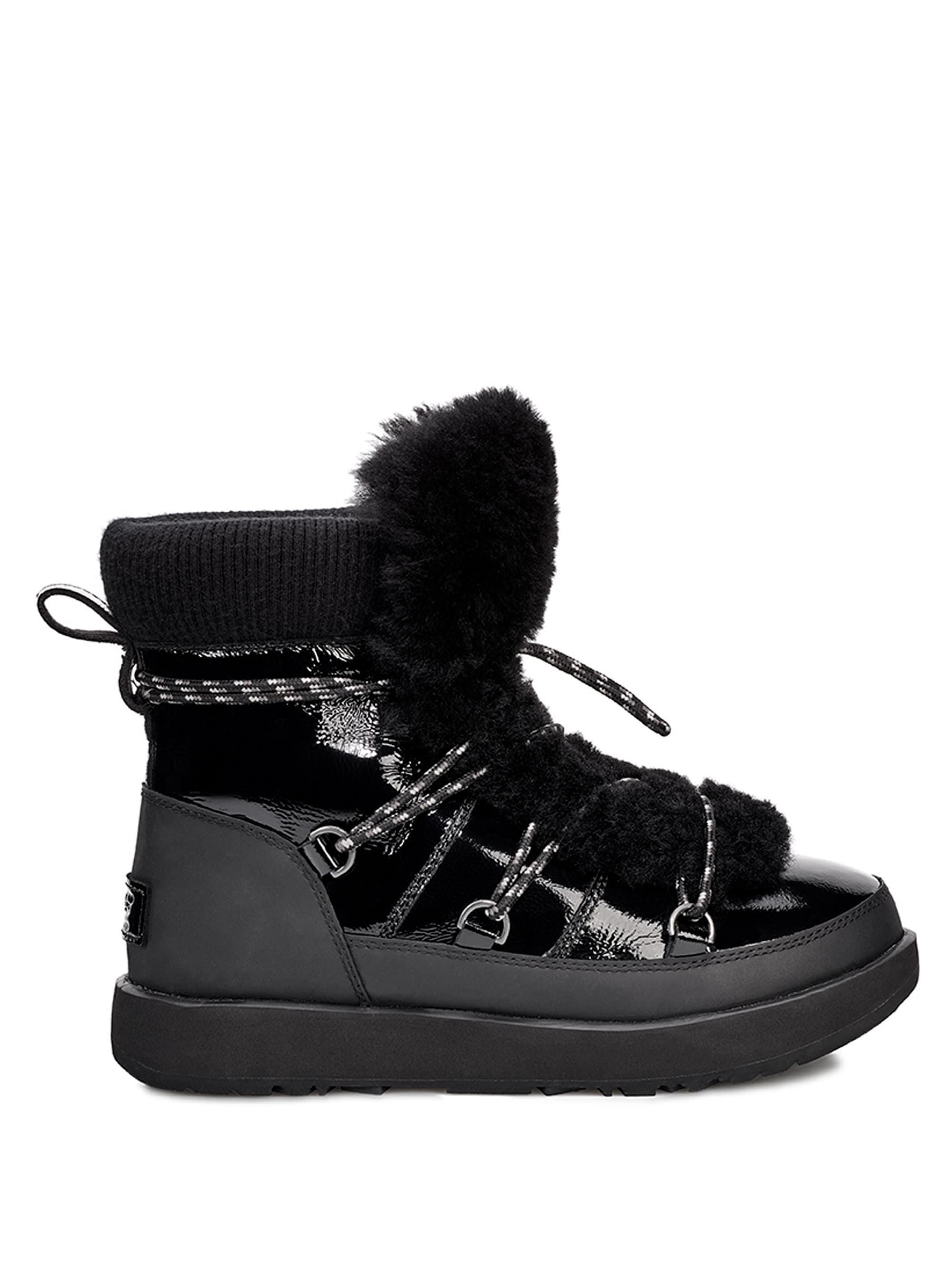 36e5d39bbe2 Ugg Black Highland Fur Trimmed Waterproof Boots