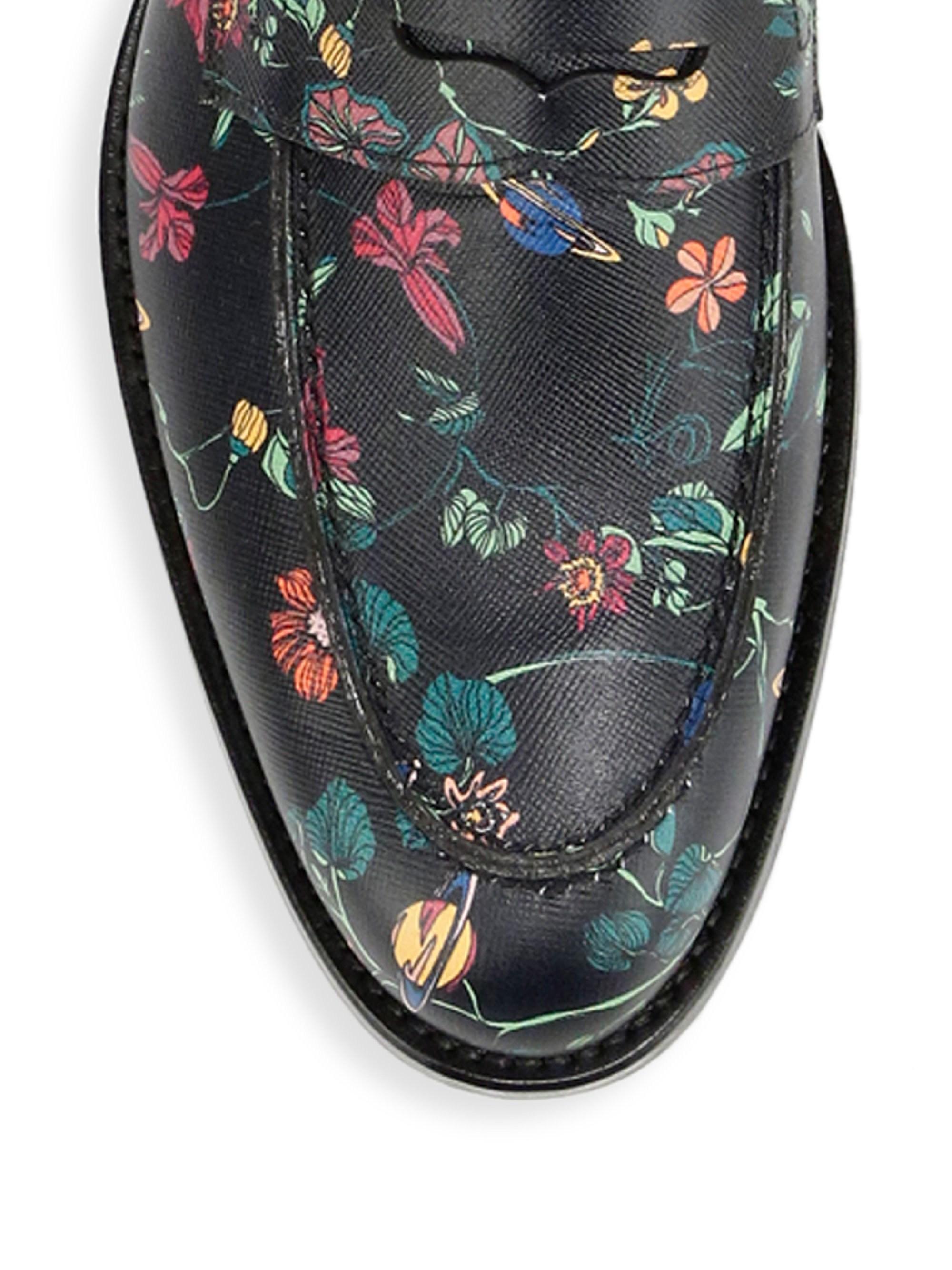 79d1d78d79b Lyst - Paul Smith Men s Floral-print Leather Penny Loafers - Floral ...