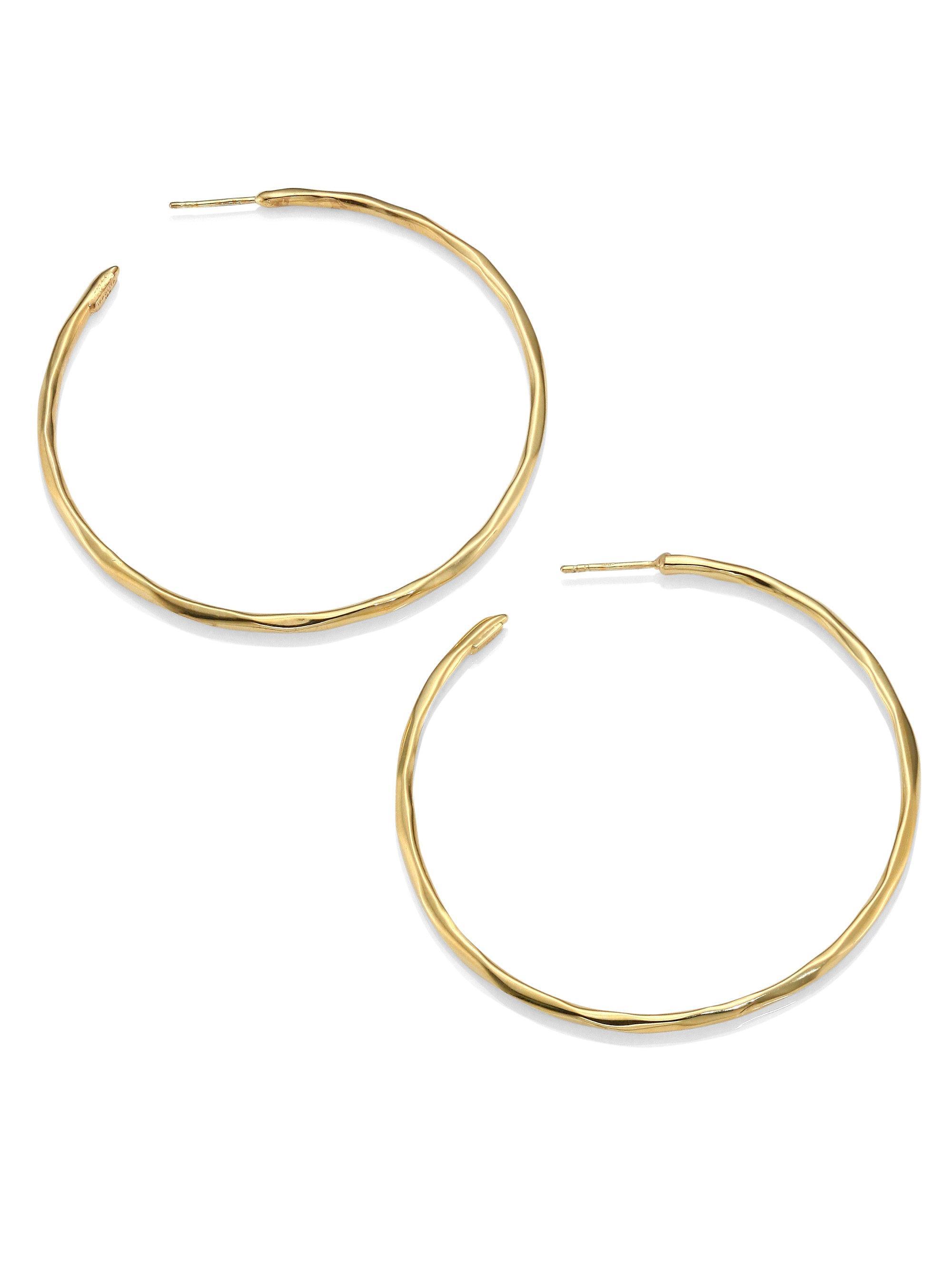 ec24dd7db7b97 Women's Metallic Glamazon 18k Yellow Gold #4 Hoop Earrings/2.3