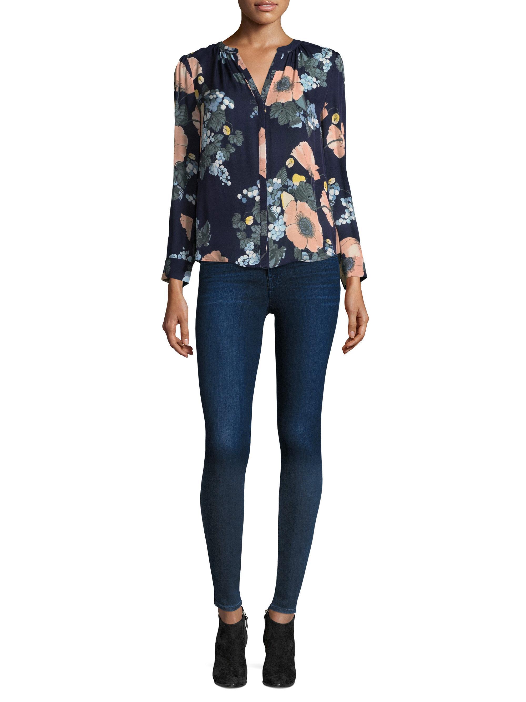 320bcae437735 Joie Amarant Bella Floral Silk Blouse in Blue - Lyst