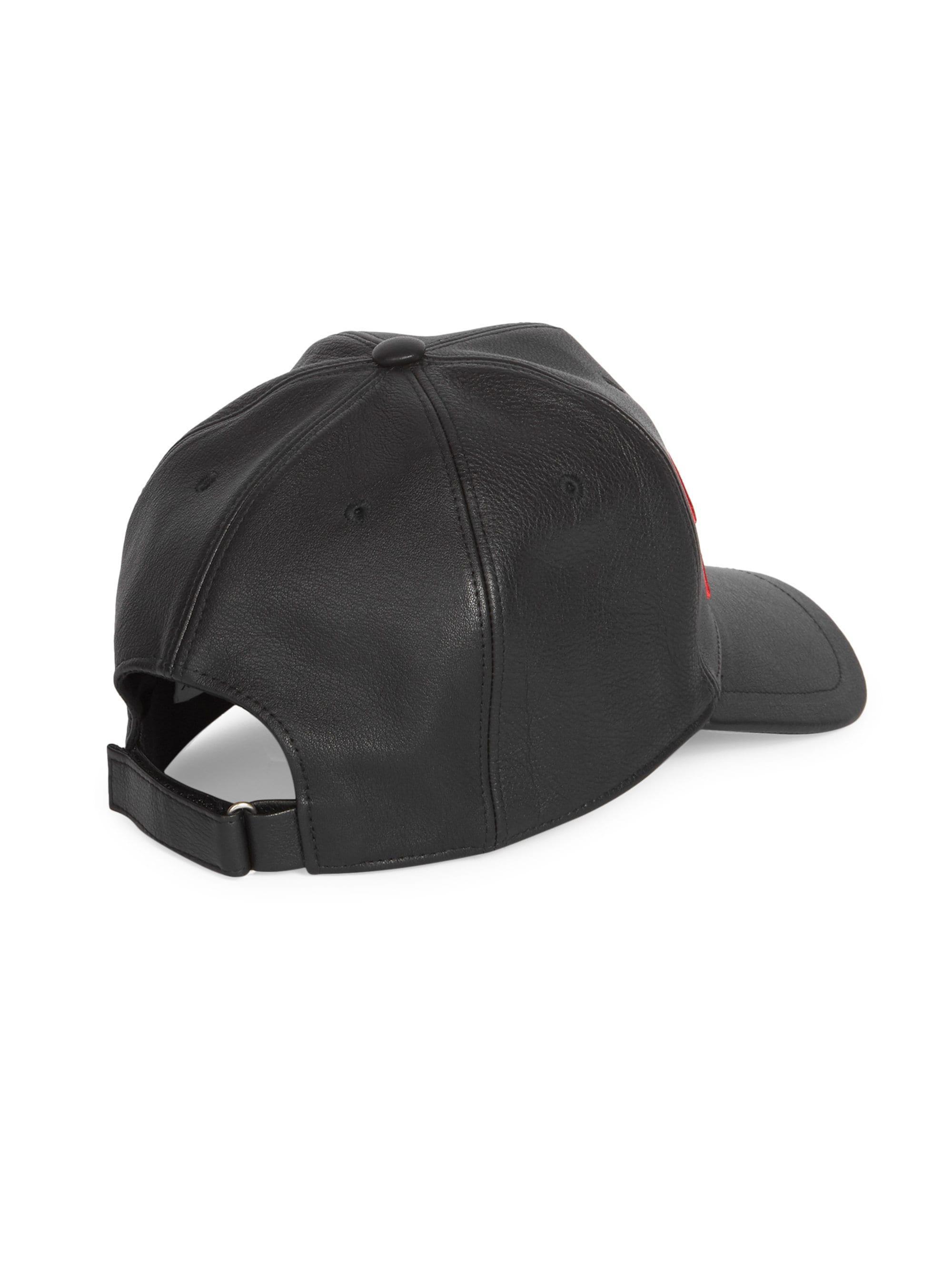 f86b301153e Givenchy - Men s Signature Logo Leather Cap - Black Red for Men - Lyst.  View fullscreen