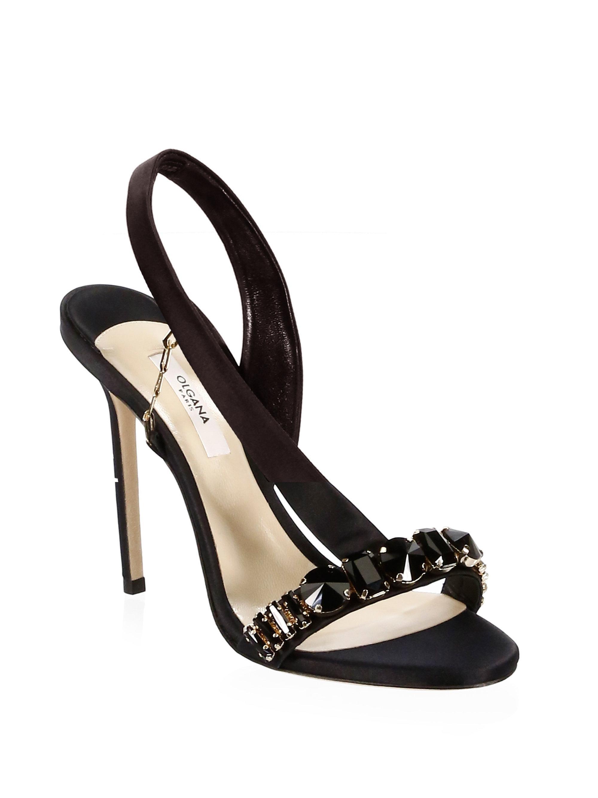 e6cf4acfb Lyst - Olgana Paris Jeweled Satin Pumps in Black