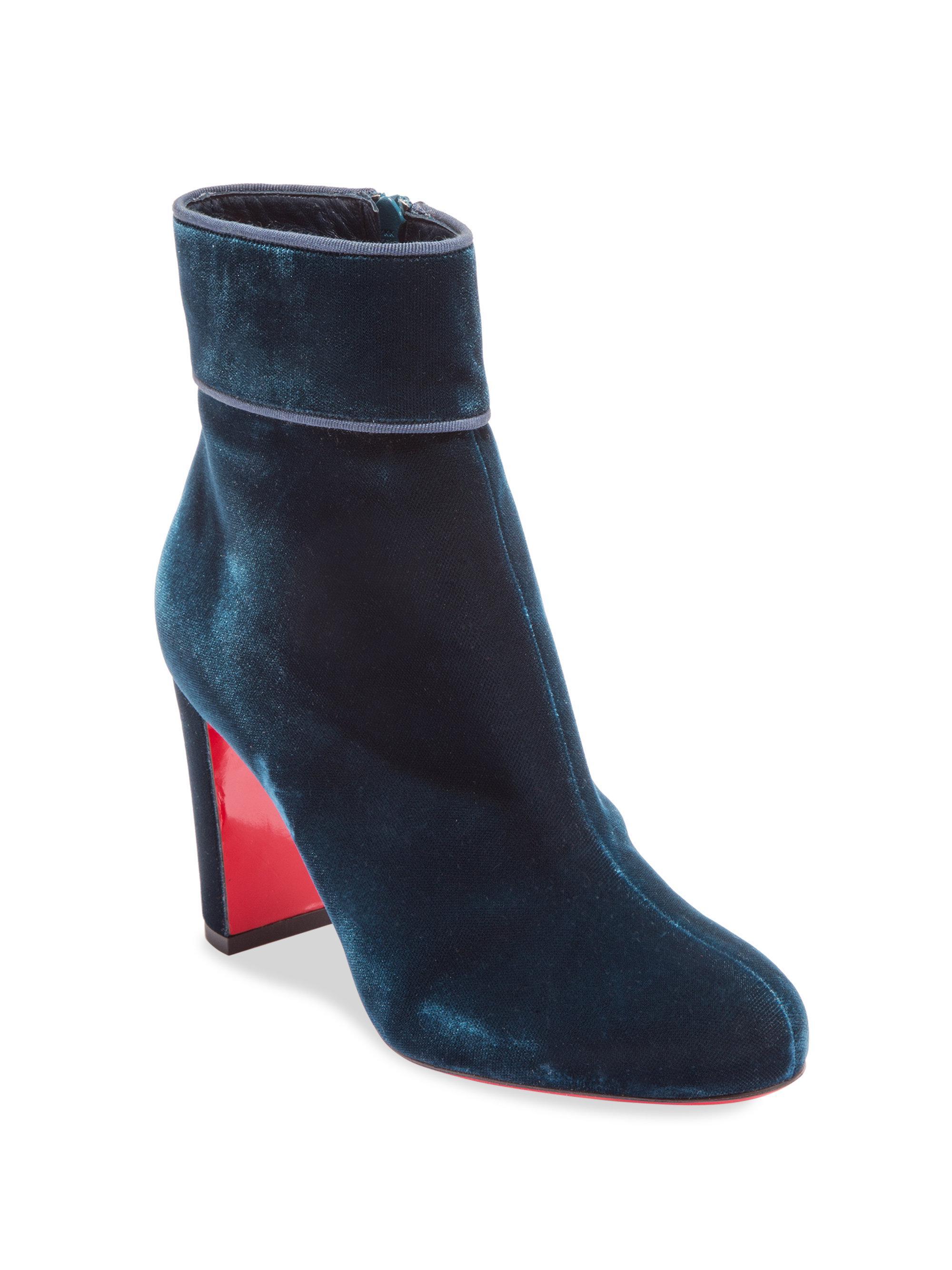 03e4a422e7a8 Lyst - Christian Louboutin Moulamax 85 Velvet Block Heel Booties in Blue