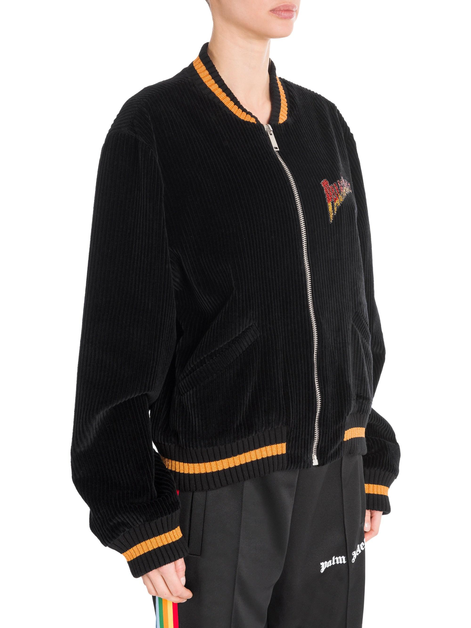 5f399b0a69 Palm Angels Black Velvet Souvenir Baseball Jacket