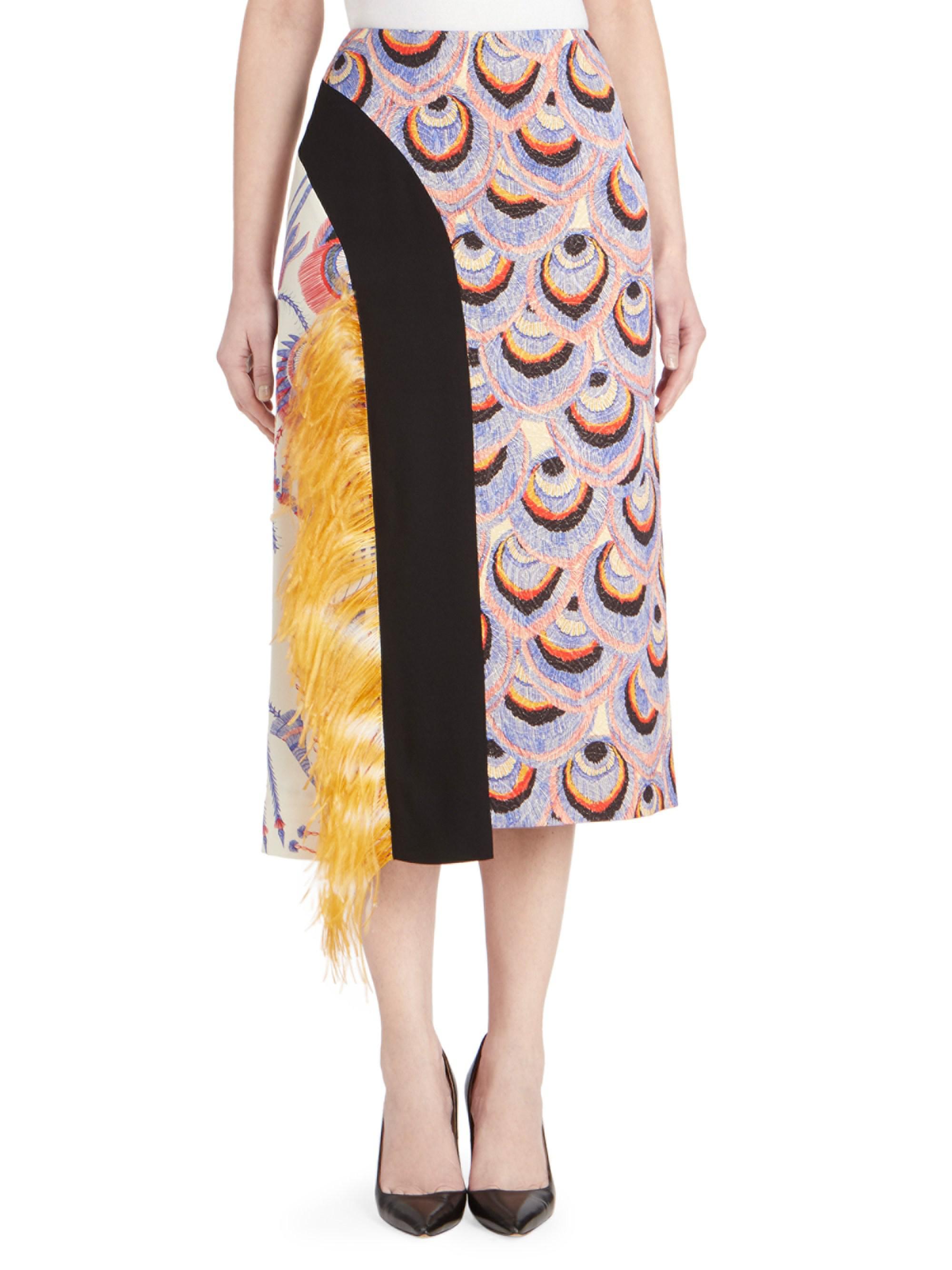 e2987df344 Dries Van Noten Feathered Brocade Midi Skirt - Lyst
