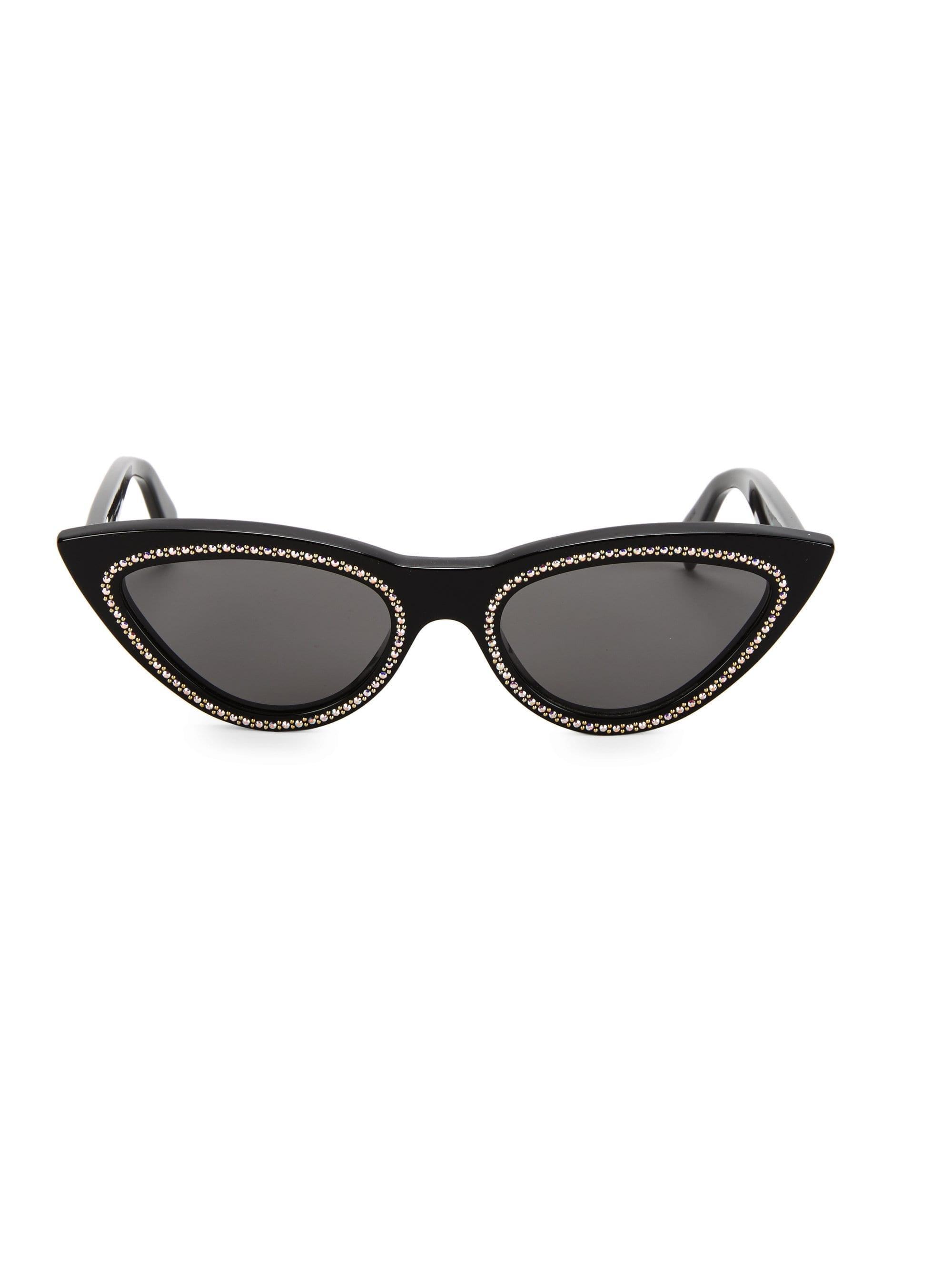 a4d0b1471d380 Céline 56mm Crystal-studded Cateye Sunglasses in Black - Lyst