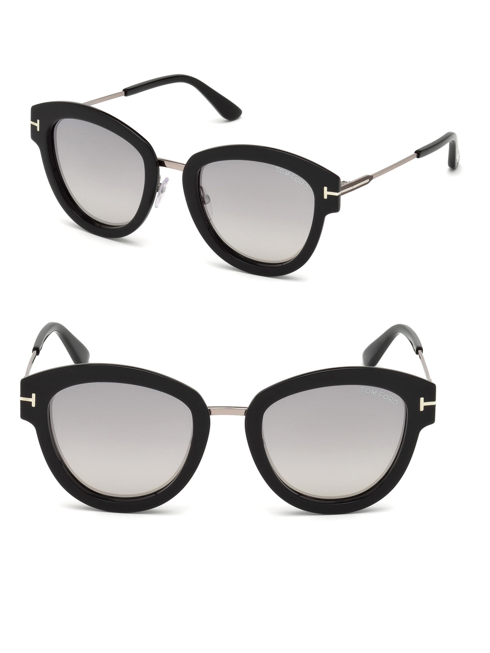 d7c6fbd5085d0 Tom Ford Women s Mia Cat Eye Sunglasses - Silver Black in Black - Lyst
