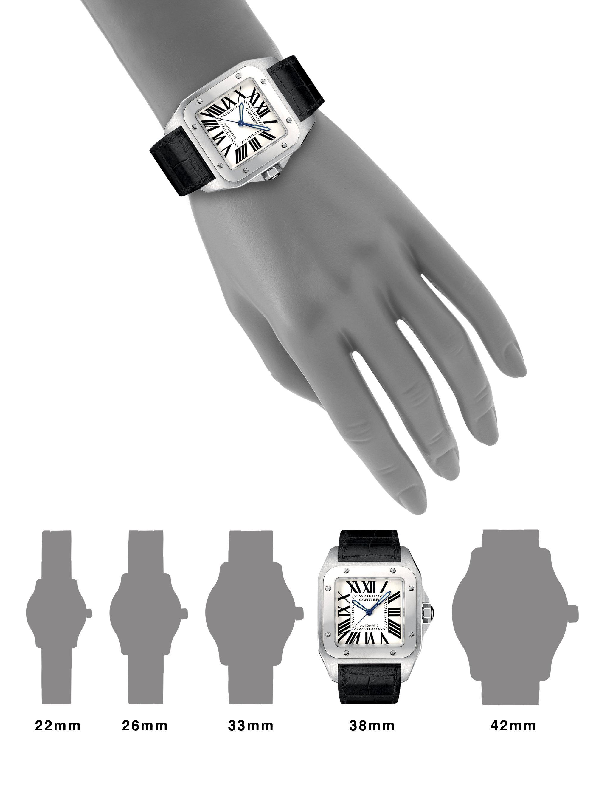 1f52be0da894b Cartier Santos 100 Automatic Large Stainless Steel & Alligator Strap ...