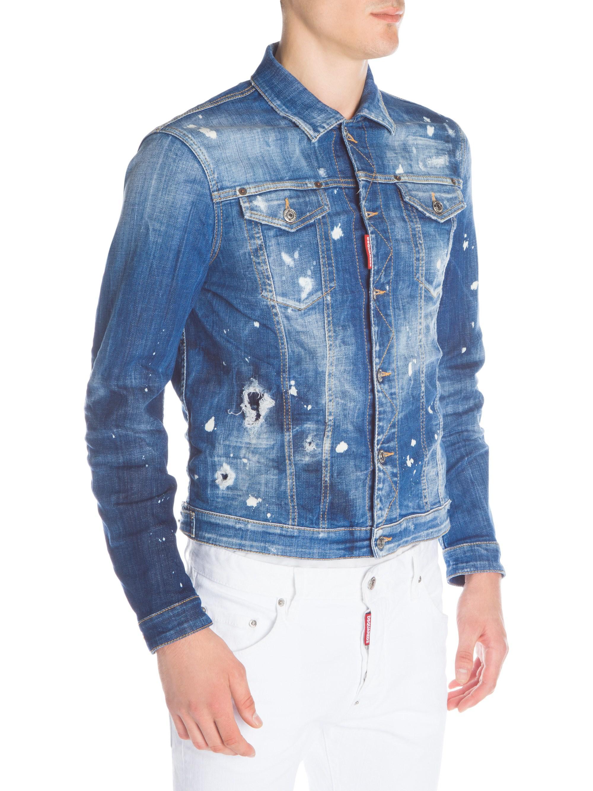 dbb7a9b1668d3d DSquared² - Blue Paint Splatter Denim Jacket for Men - Lyst. View fullscreen