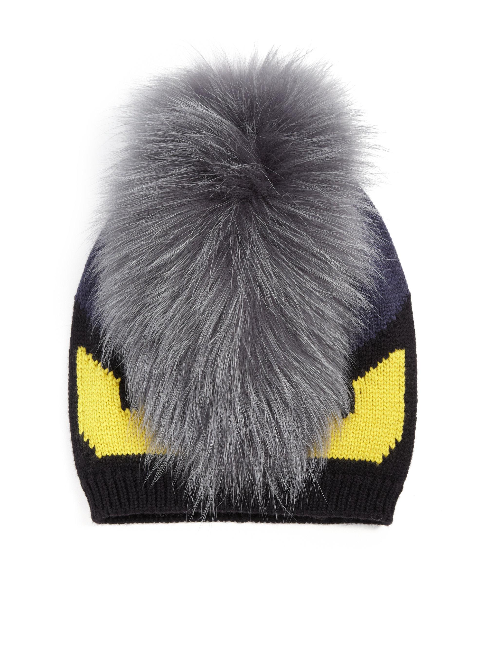 d769147e1e4 Fendi Monster Fur-trimmed Wool Hat in Black for Men - Lyst