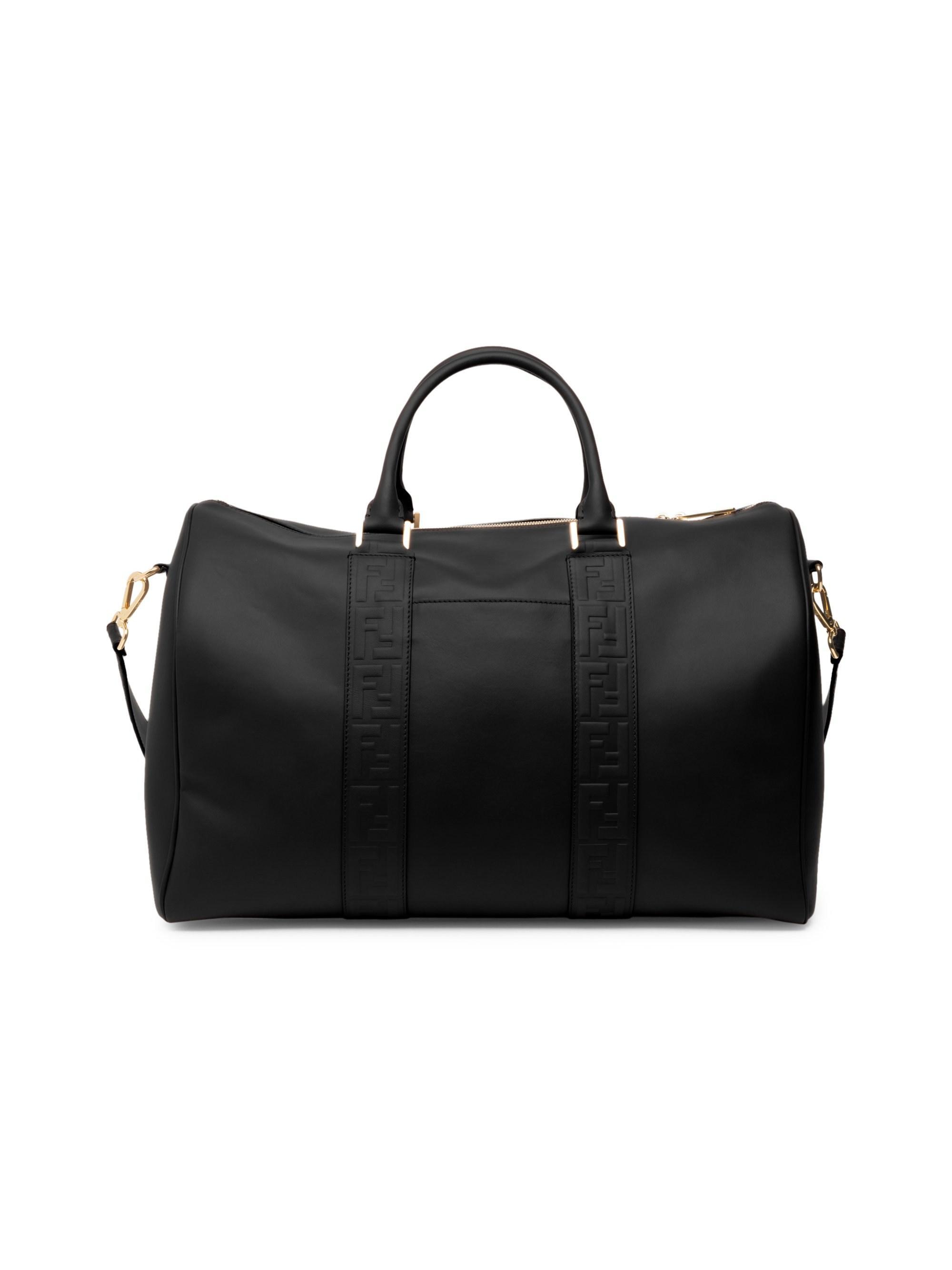 Lyst - Fendi Men s Logo Embossed Leather Duffel - Black in Black for Men 3ff21cc1bf022