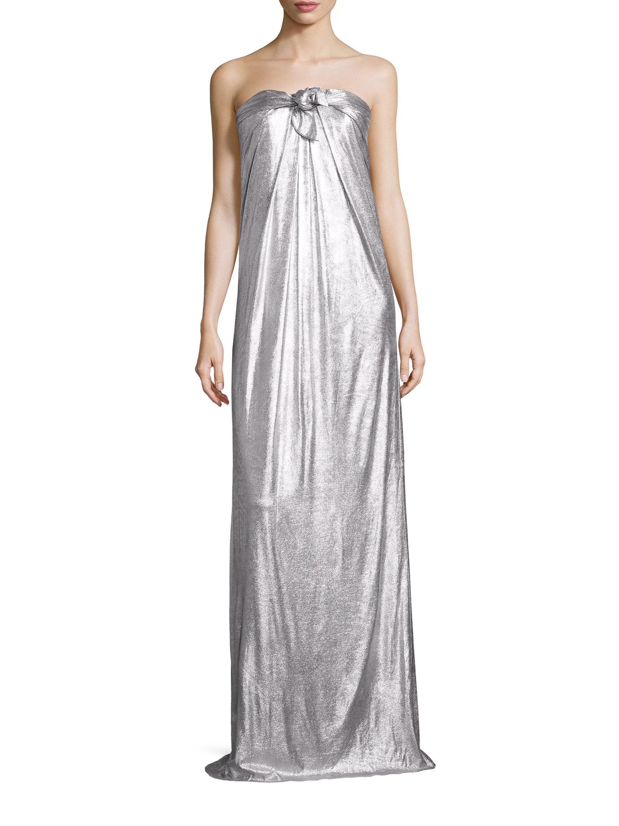 e64be89d91a9 Halston Strapless Metallic Jersey Gown in Metallic - Lyst