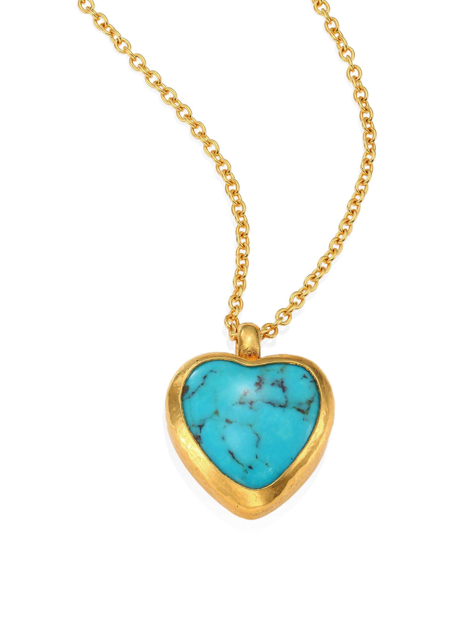 Gurhan Amulet Hue Turquoise Heart & 18-24k Yellow Gold ...