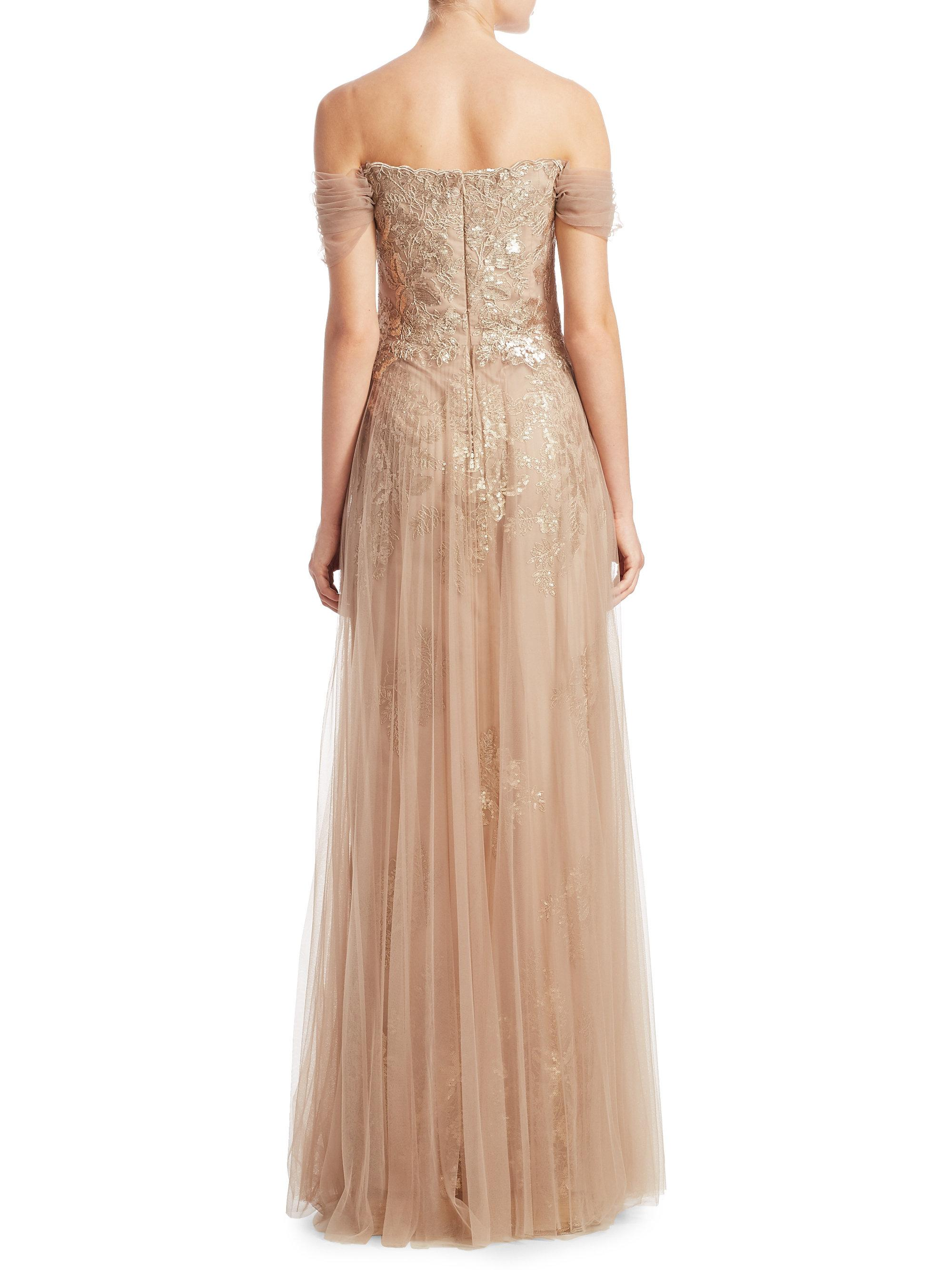 Lyst - Teri jon Off-the-shoulder Pleated Tulle Evening Gown in Natural