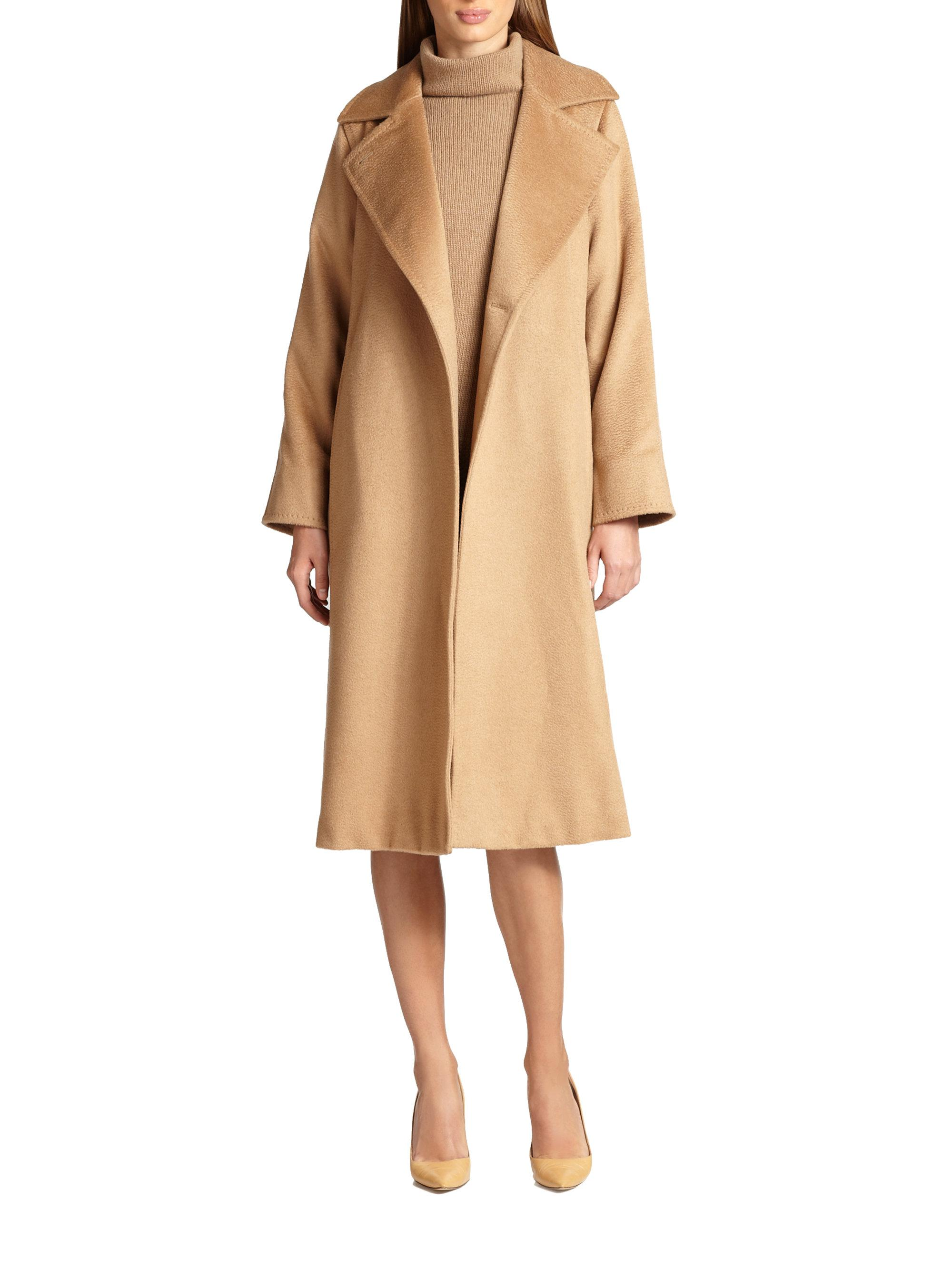 Lyst Max Mara Manuel Camel Hair Wrap Coat In Brown