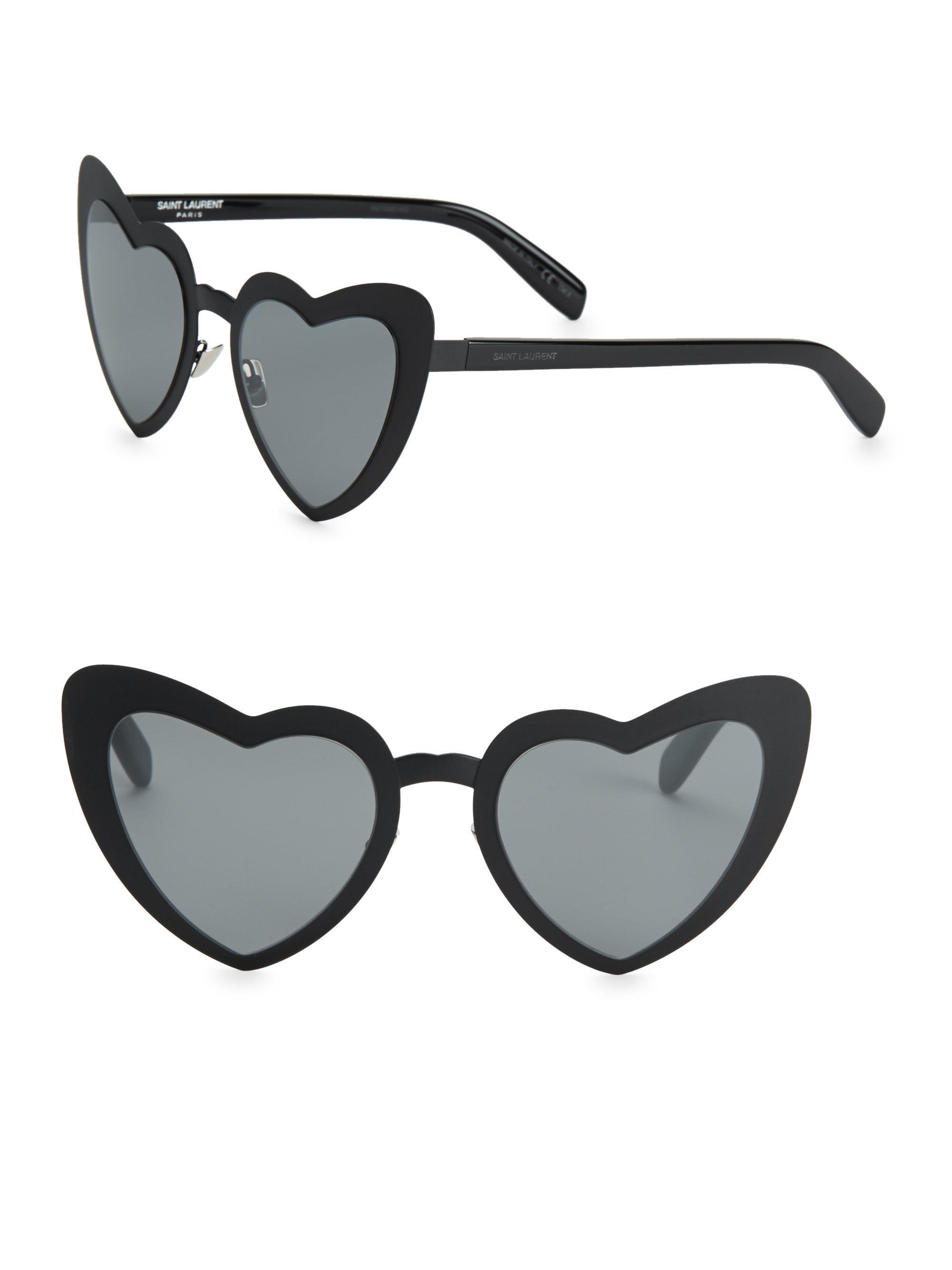 7fe3d129b080c Lyst - Saint Laurent Sl 196 53mm Lou Lou Heart-shaped Sunglasses in Black