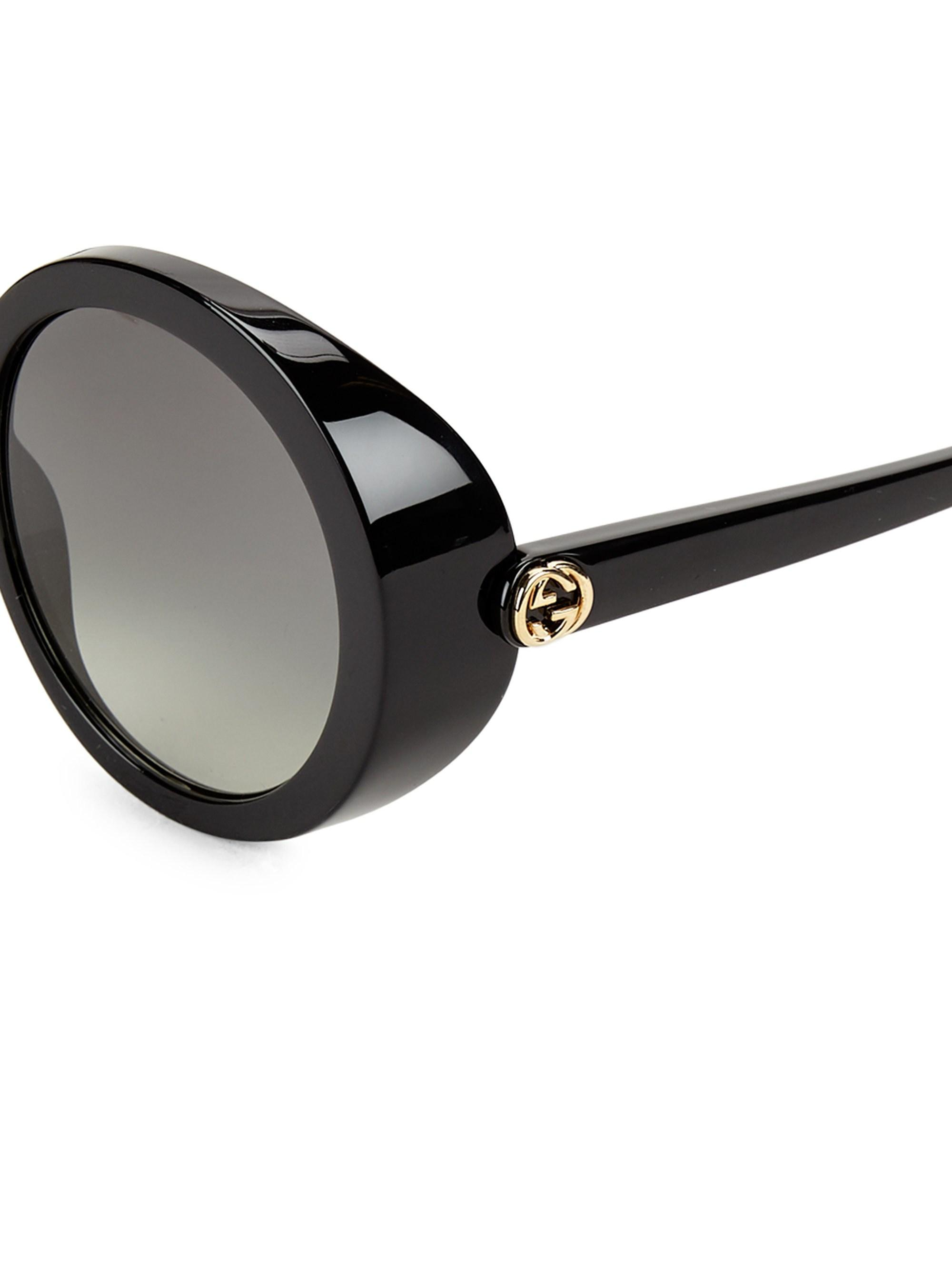 13c11c32fc Lyst - Gucci Women s 52mm Round Sunglasses - Black in Black