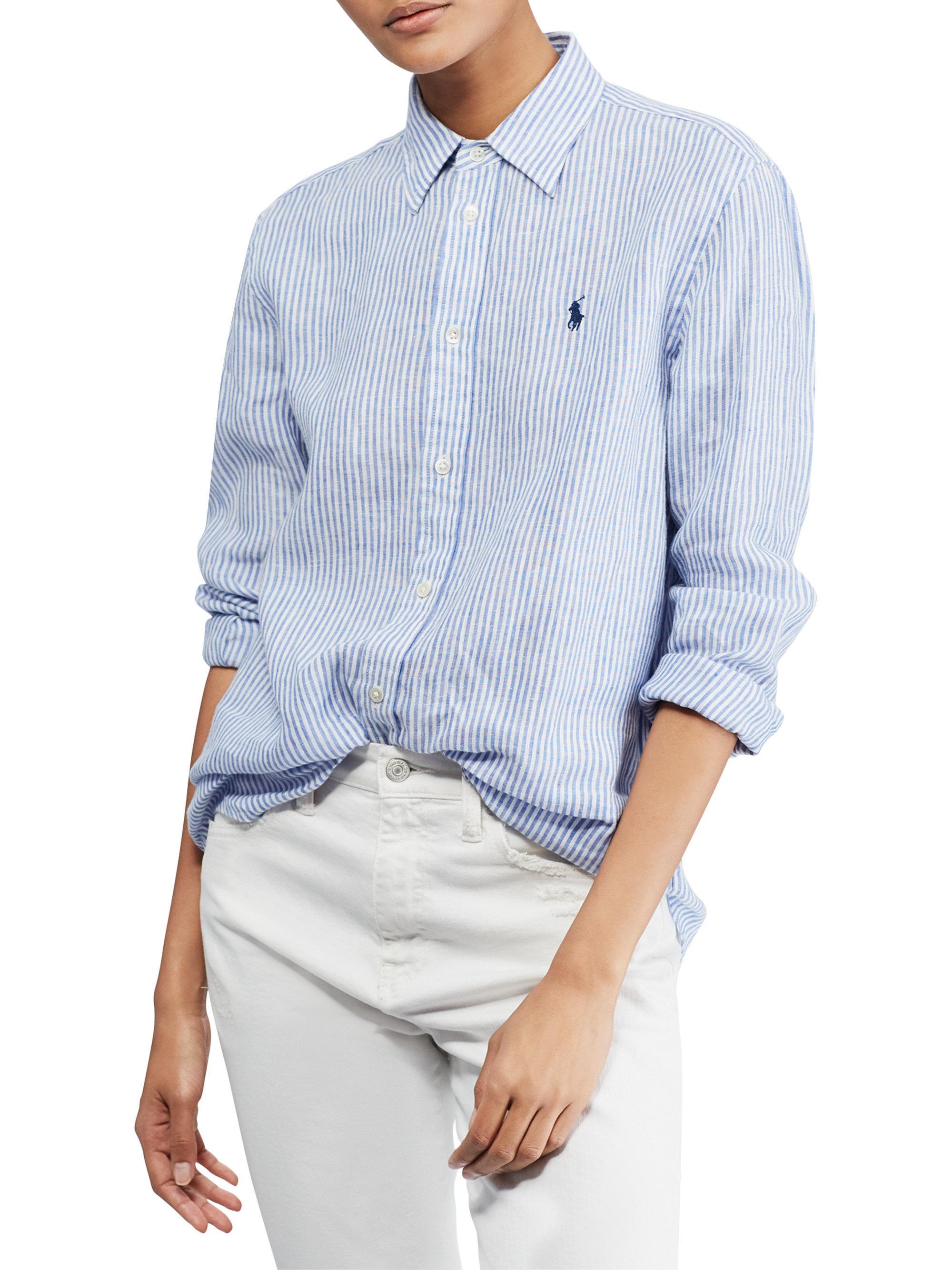 25a6f10c88 ... clearance lyst polo ralph lauren relaxed striped linen shirt in blue  for men 56c6e 41405