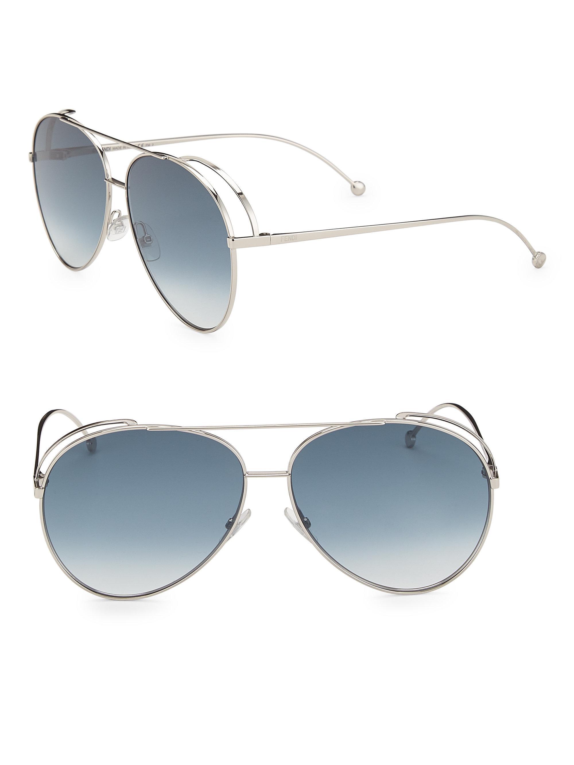 b36b8d52493 Fendi 63mm Classic Aviator Sunglasses in Blue - Lyst