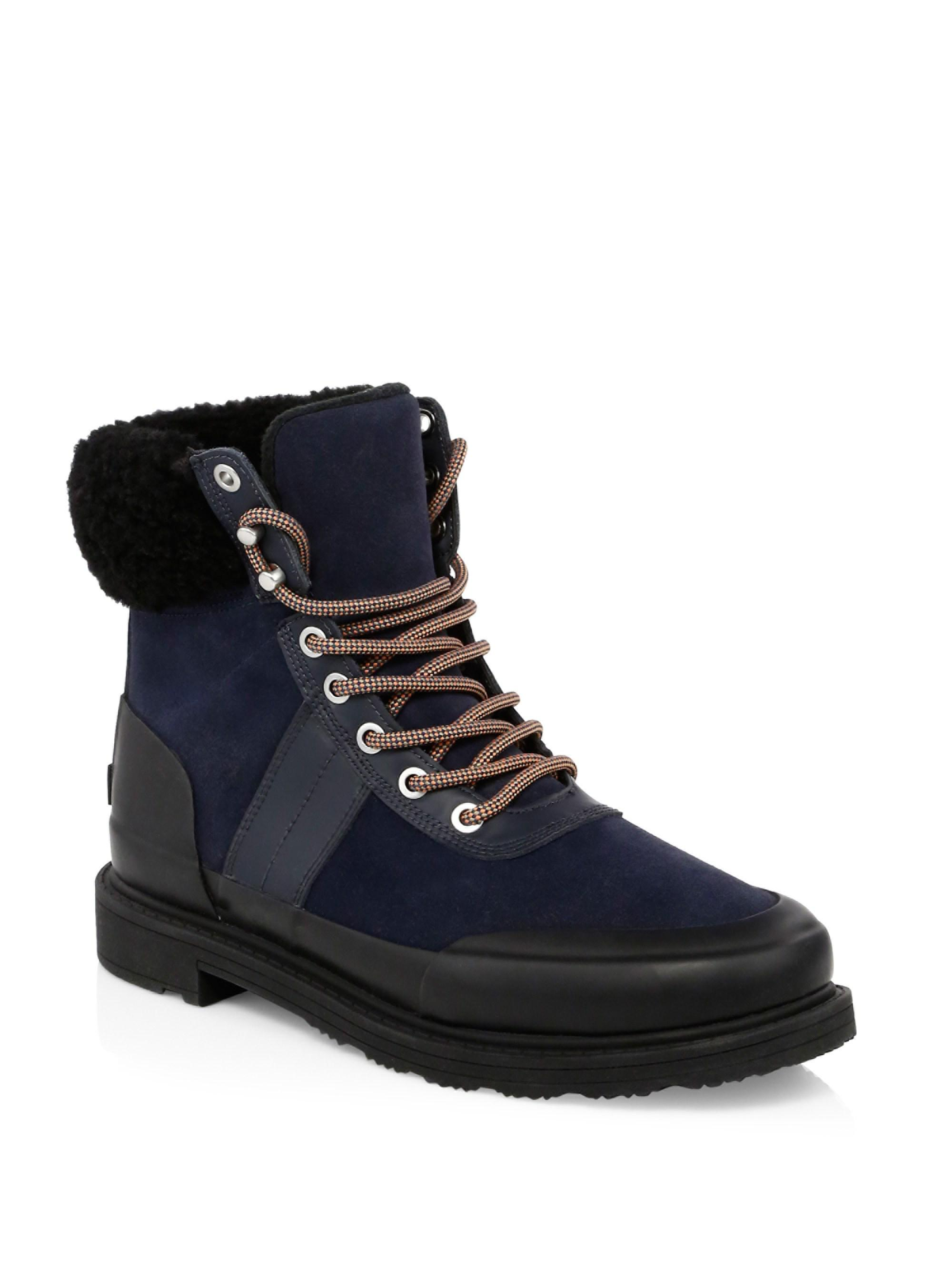hunter insulated black leather hiker boots