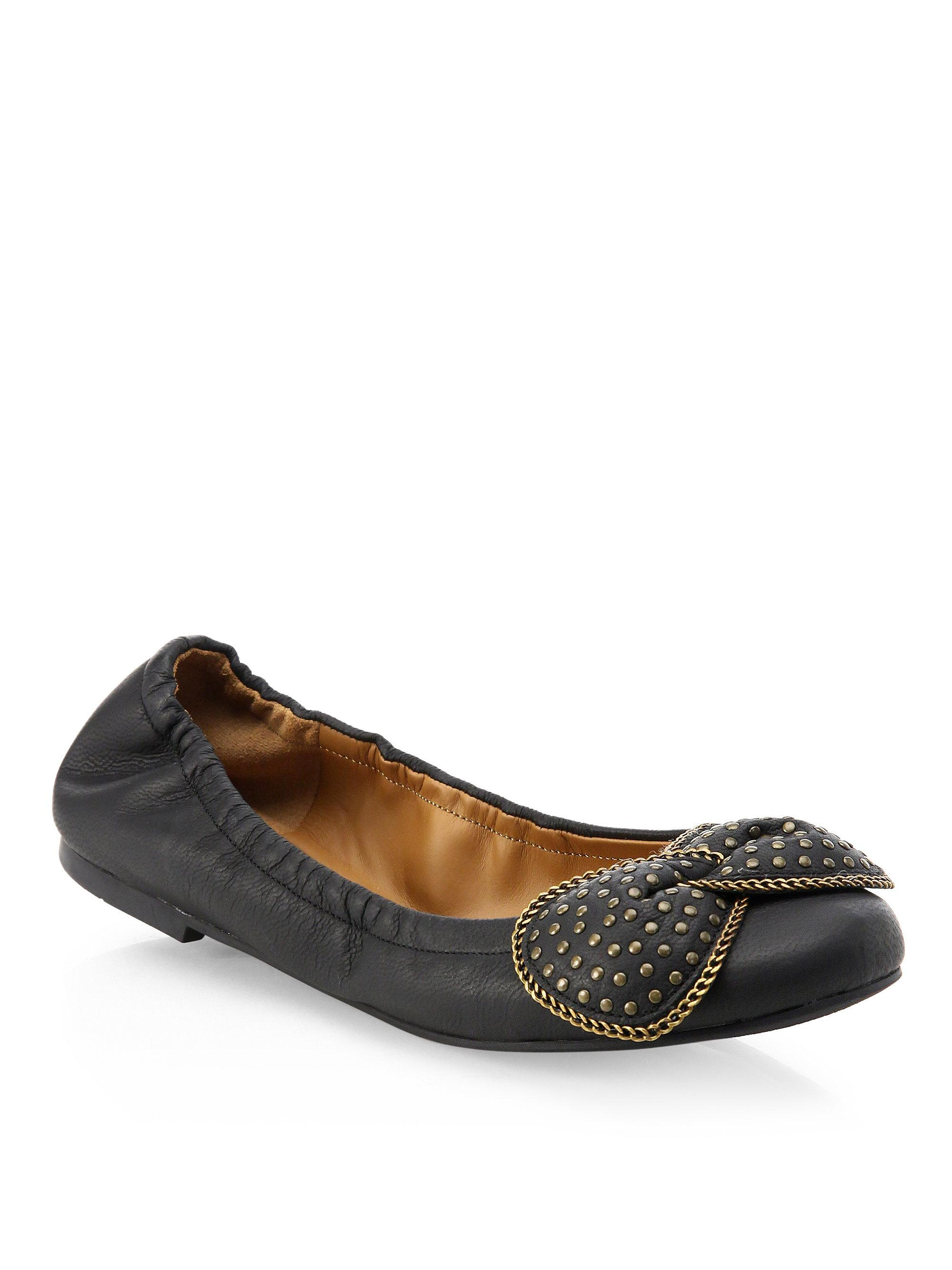 See By Chloé | Black Studded Leather Ballet Flats | Lyst. View Fullscreen