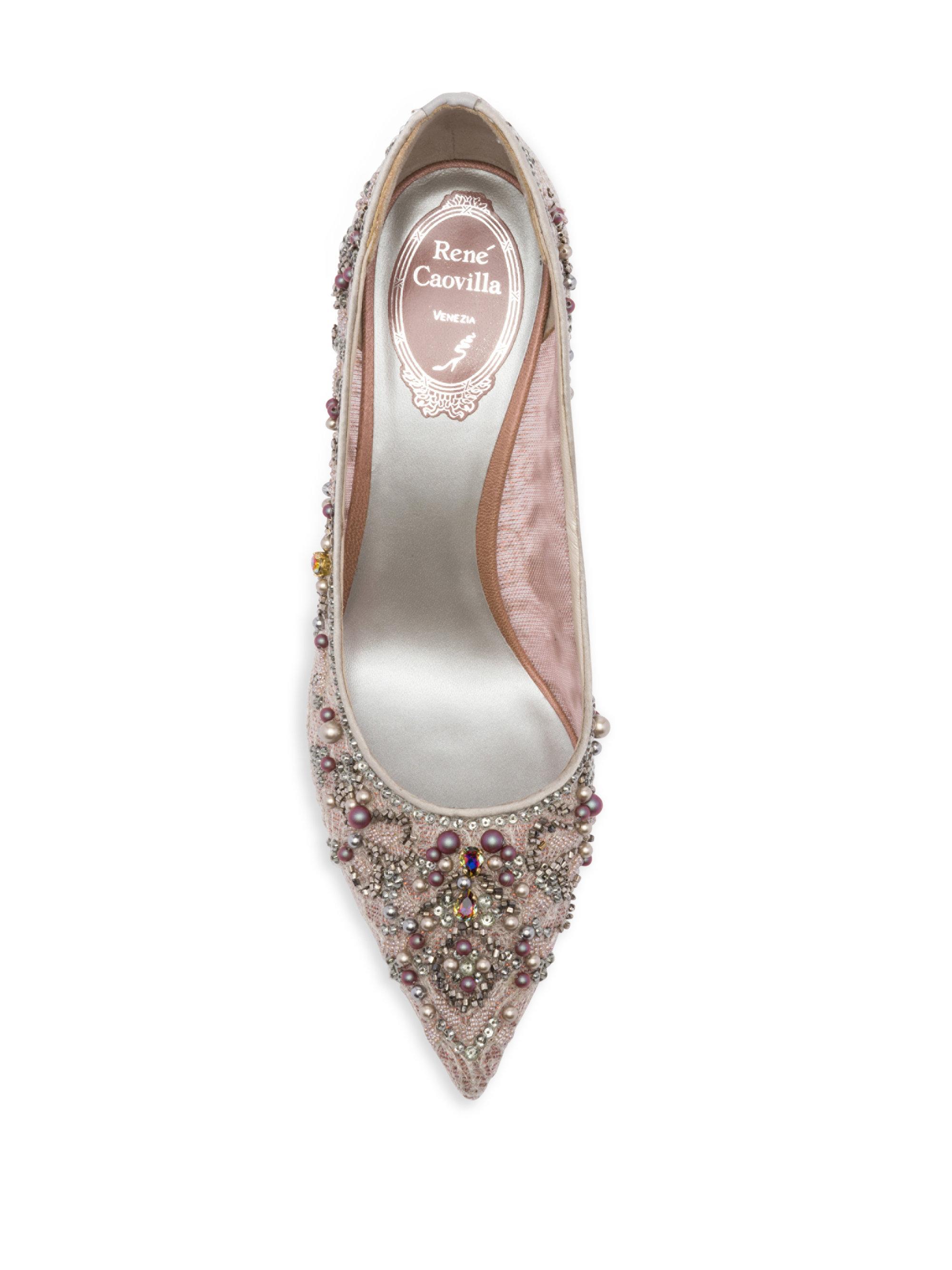 7174bd3fd8e Rene Caovilla Pink Lace And Pearl Pumps
