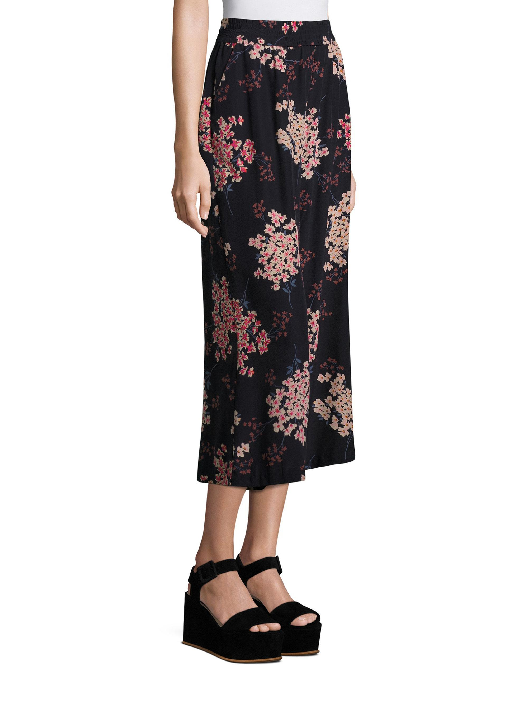 Lyst Rebecca Taylor Phlox Floral Print Silk Pants In Blue