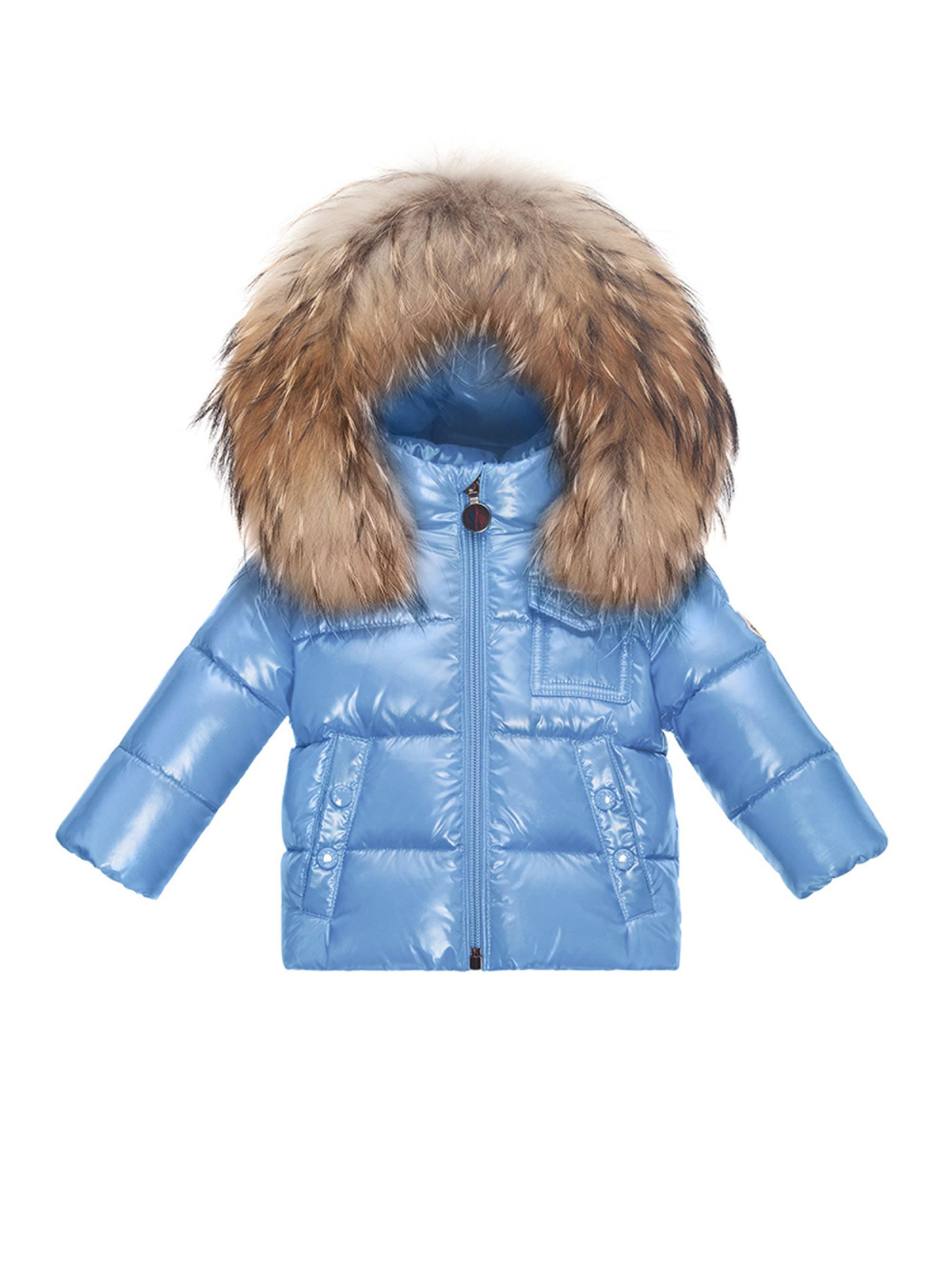 4221ba8be Moncler Baby Boy's Fur-trim Puffer Jacket in Blue - Lyst