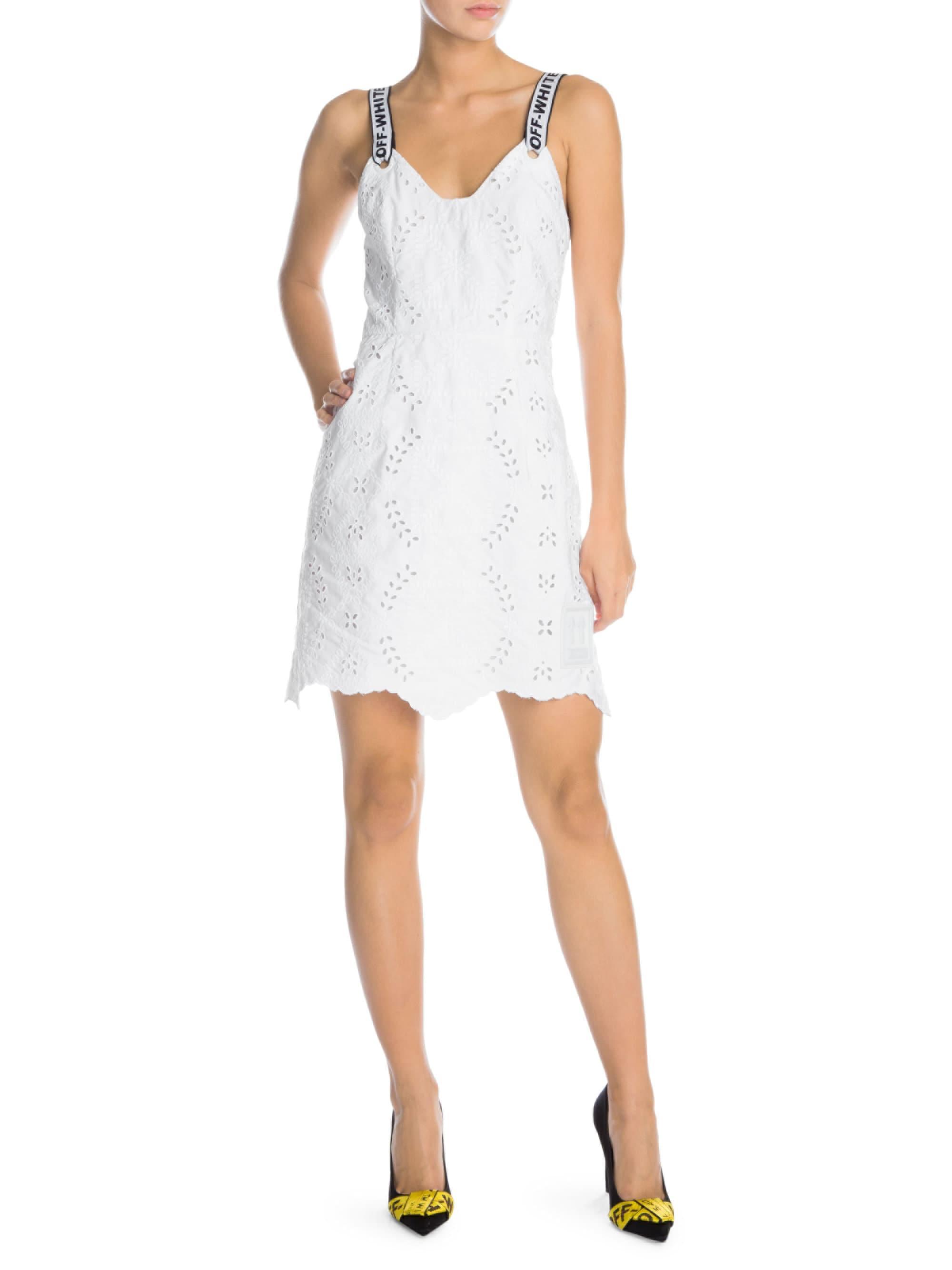 b37ff2ef Lyst - Off-White c/o Virgil Abloh Logo San Gallo Lace Sheath Dress ...