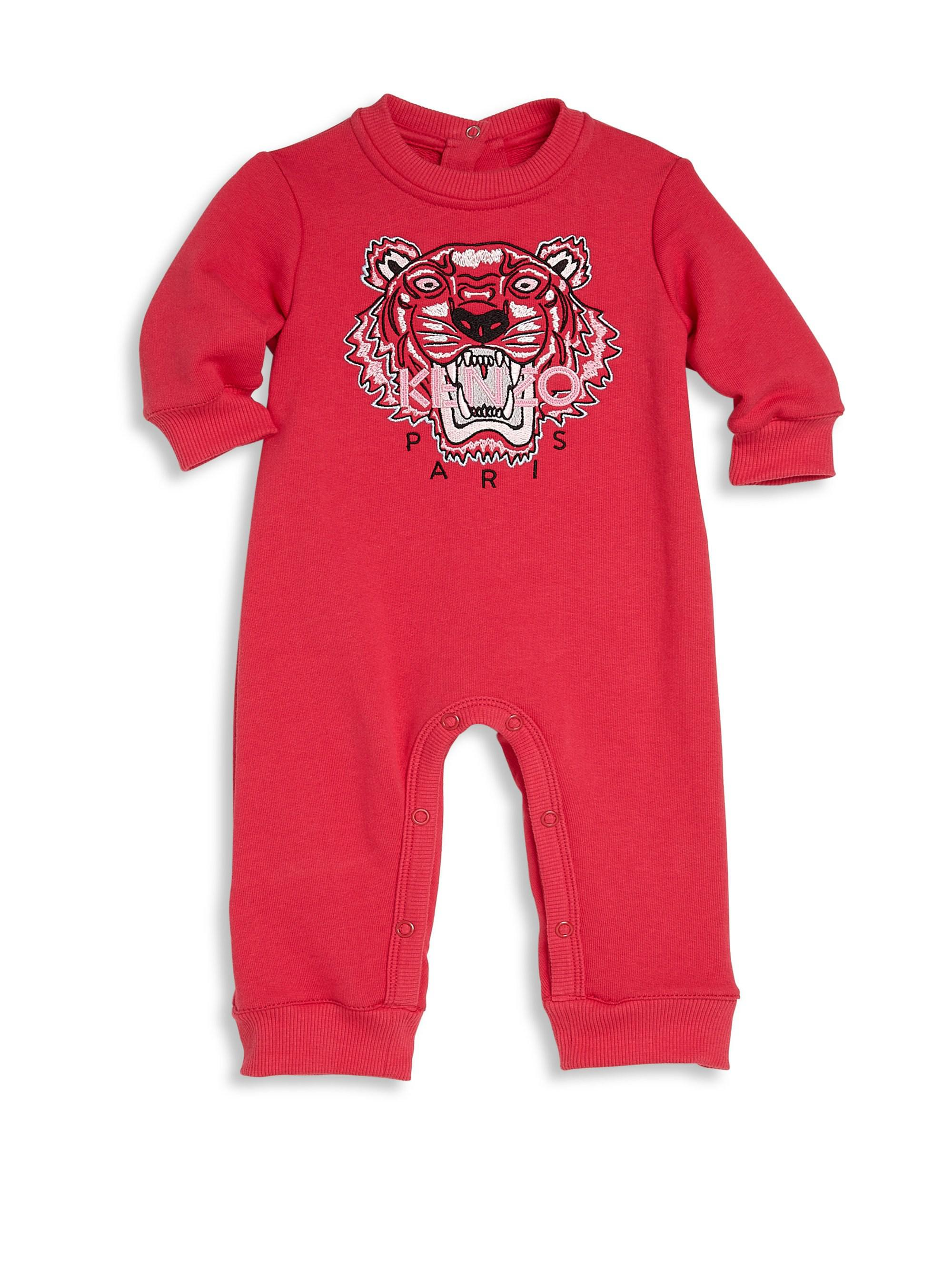 05fe930b1 Kenzo Baby Girl s Tiger Embroidered Cotton Romper in Red - Lyst