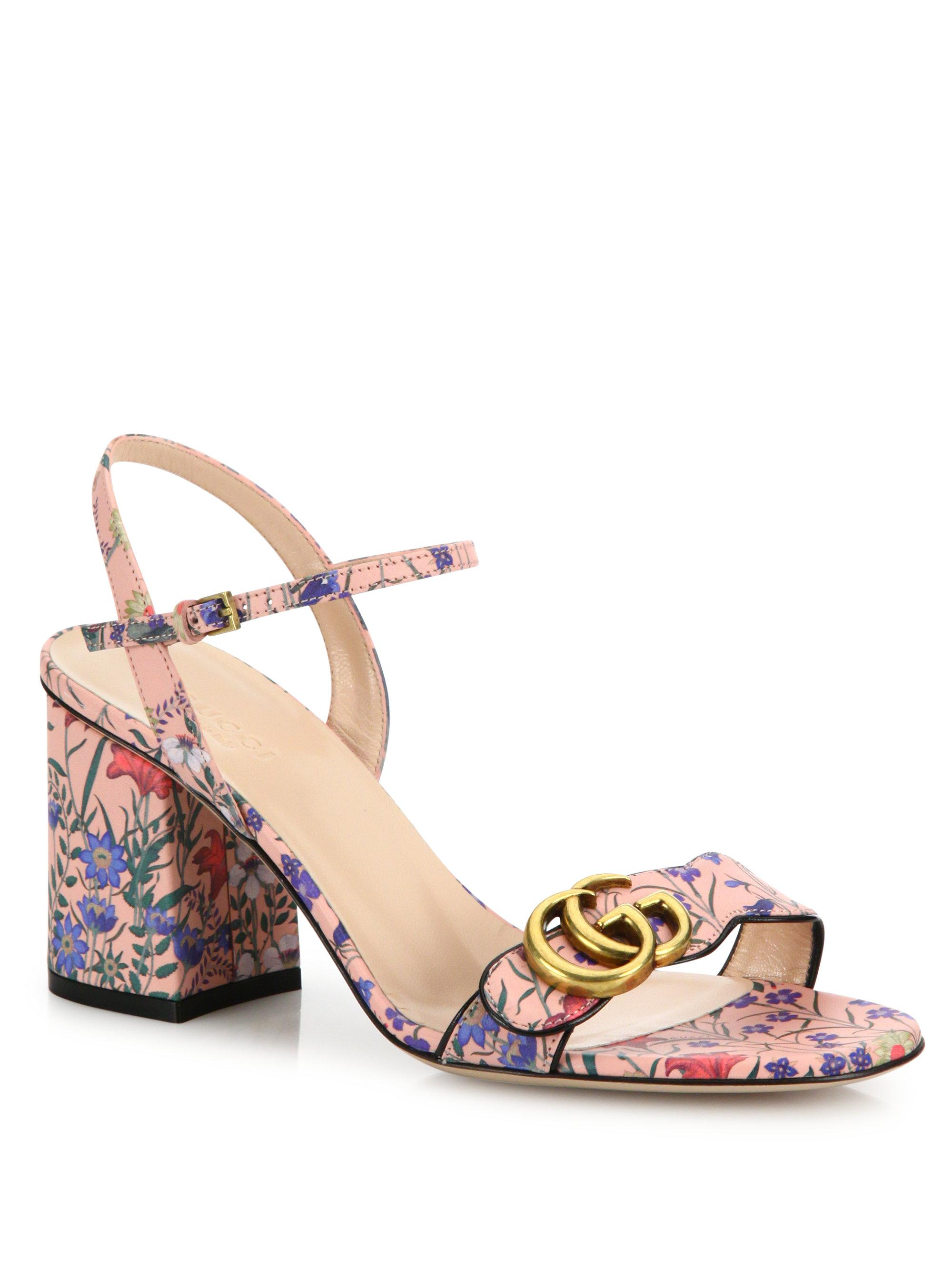 94d557b3988 Lyst - Gucci Marmont Floral-print Leather Block-heel Sandals in Pink