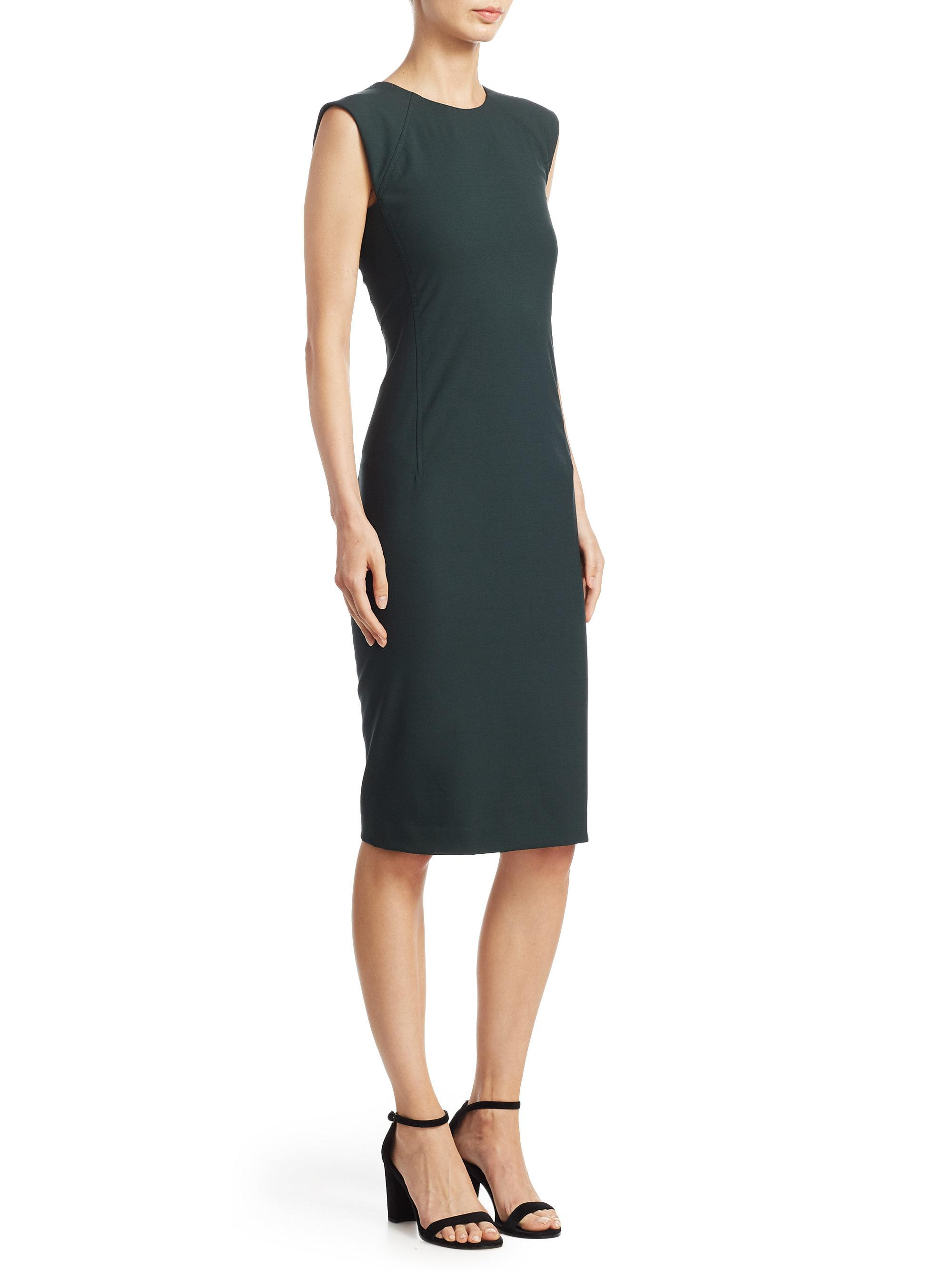 Lyst theory power sheath dress in green for Saks fifth avenue wedding guest dresses