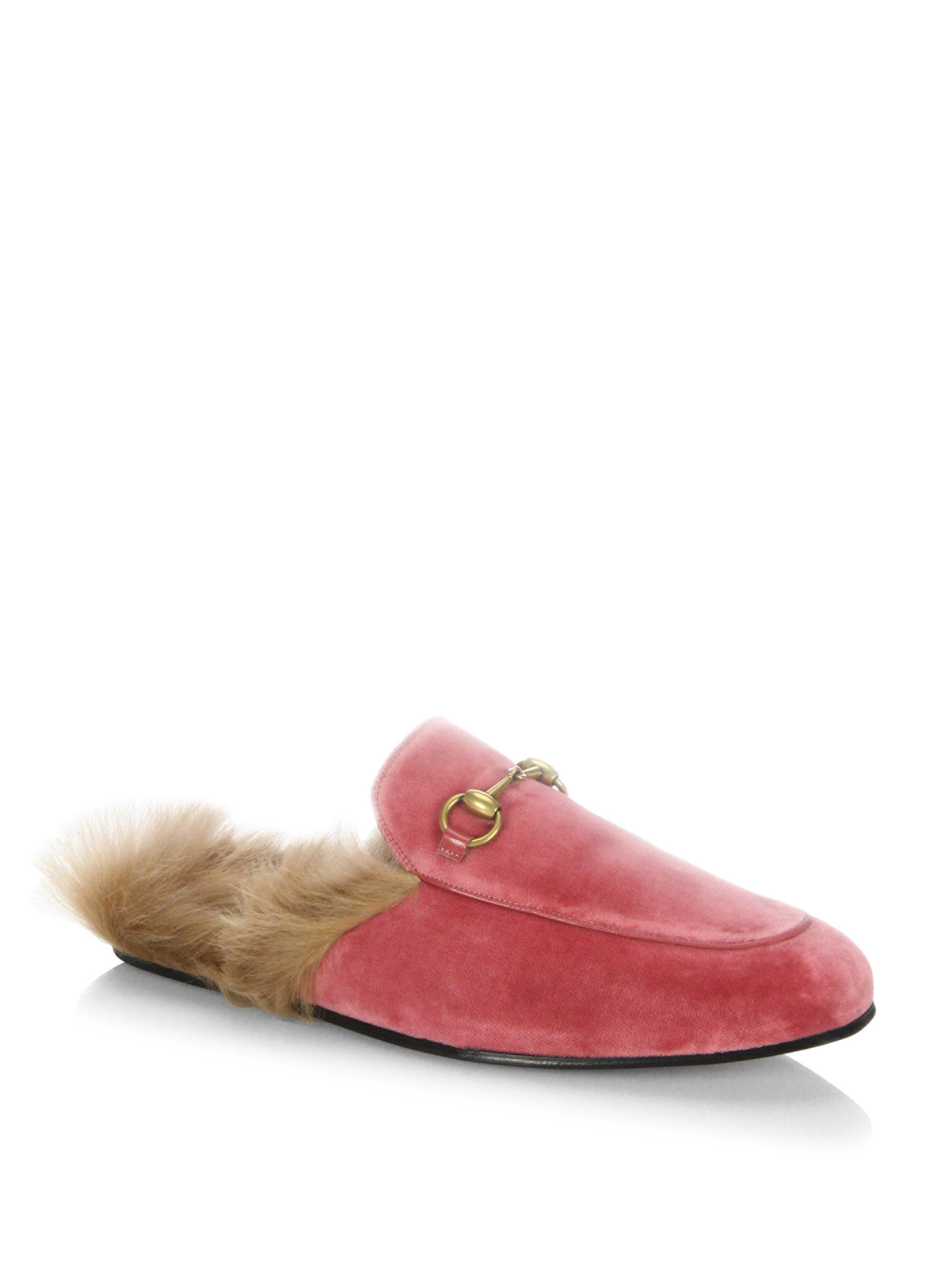 1bdcc2f247e Lyst - Gucci Princetown Fur   Velvet Slippers in Pink