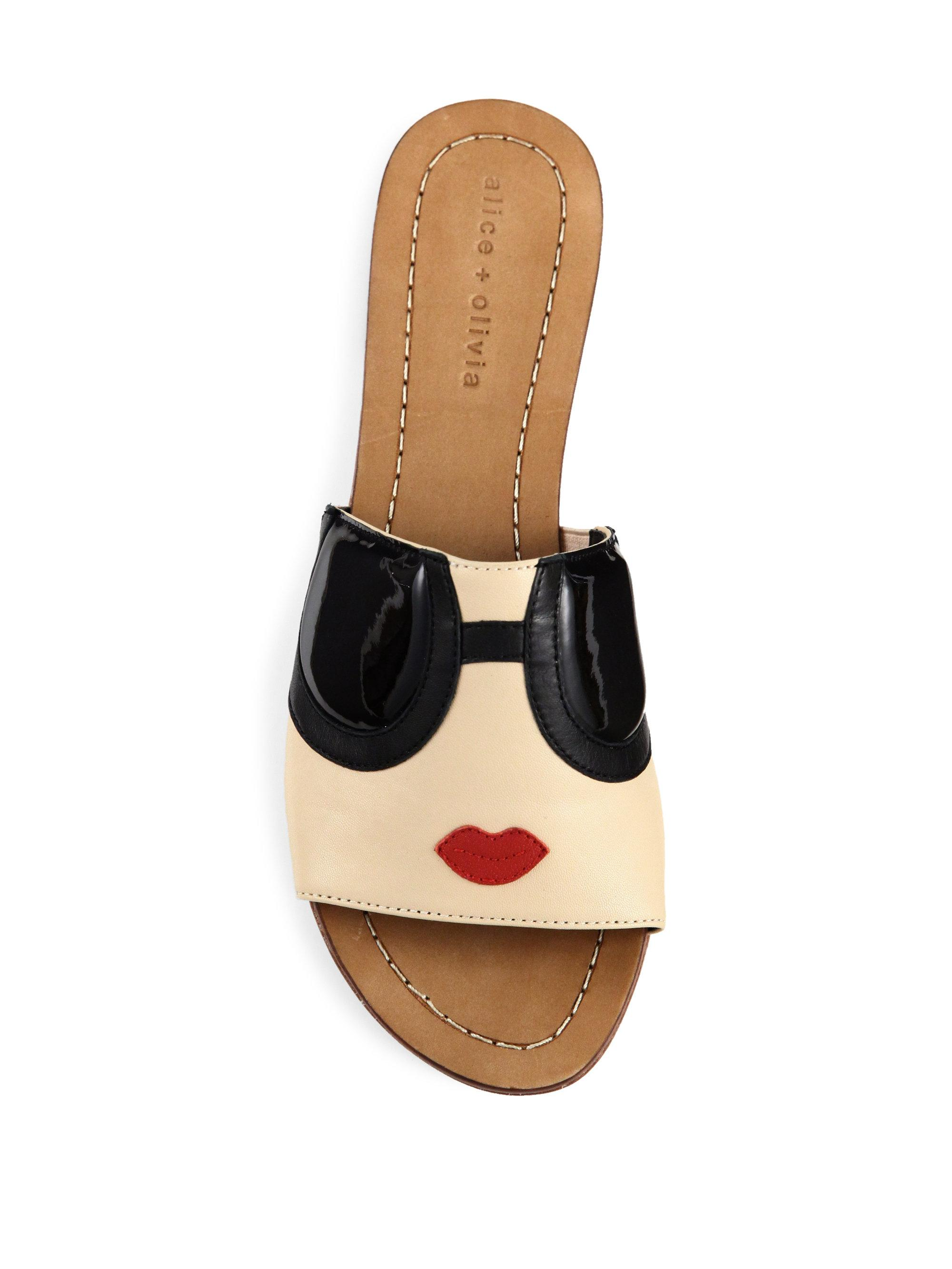 Lyst Alice Olivia Stace Face Leather Slide Sandals In