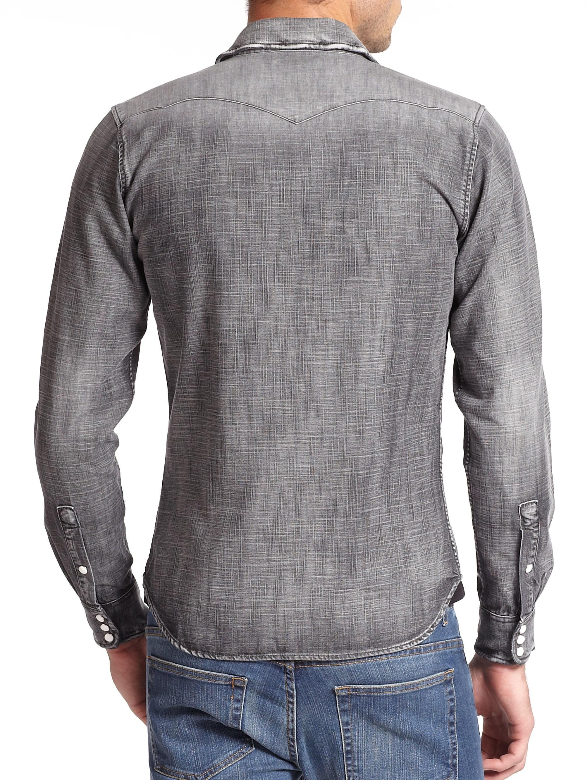 0b688c19fe2 The Kooples - Gray Dark Wash Denim Button-down Shirt for Men - Lyst. View  fullscreen