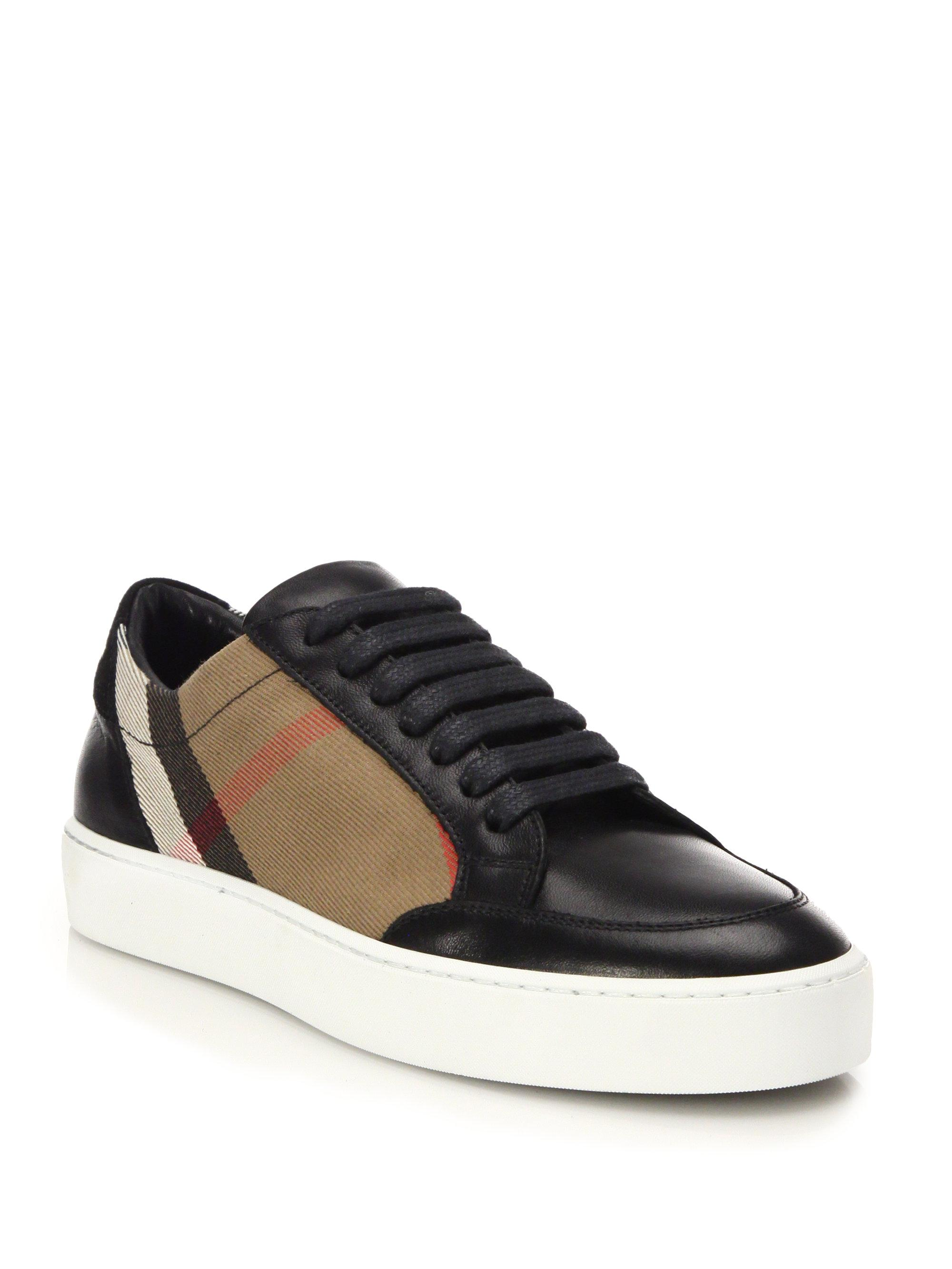 Leather and House Check Sneakers - Black Burberry 8UEukTisM2
