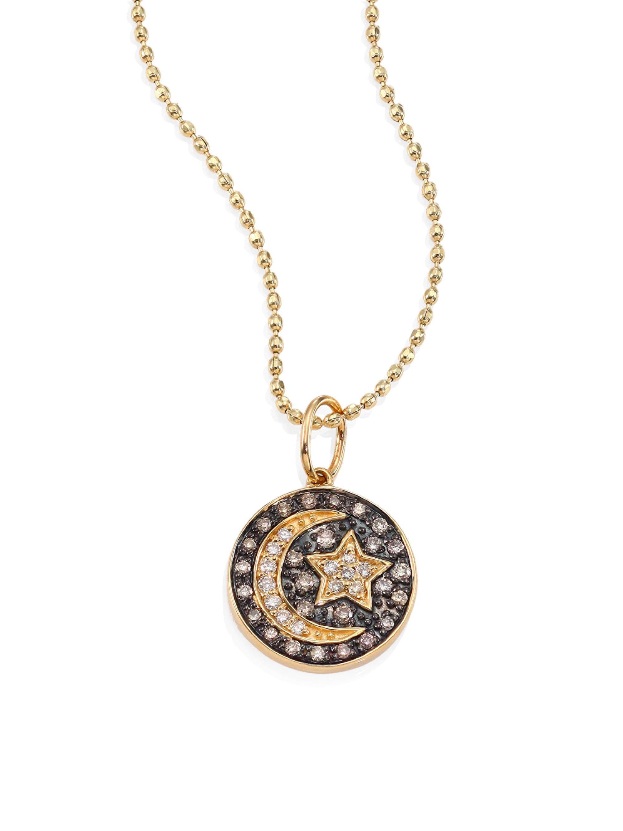 728b0a78fc0c1 Sydney Evan Metallic Small Moon And Star Diamond & 14k Yellow Gold  Medallion Necklace