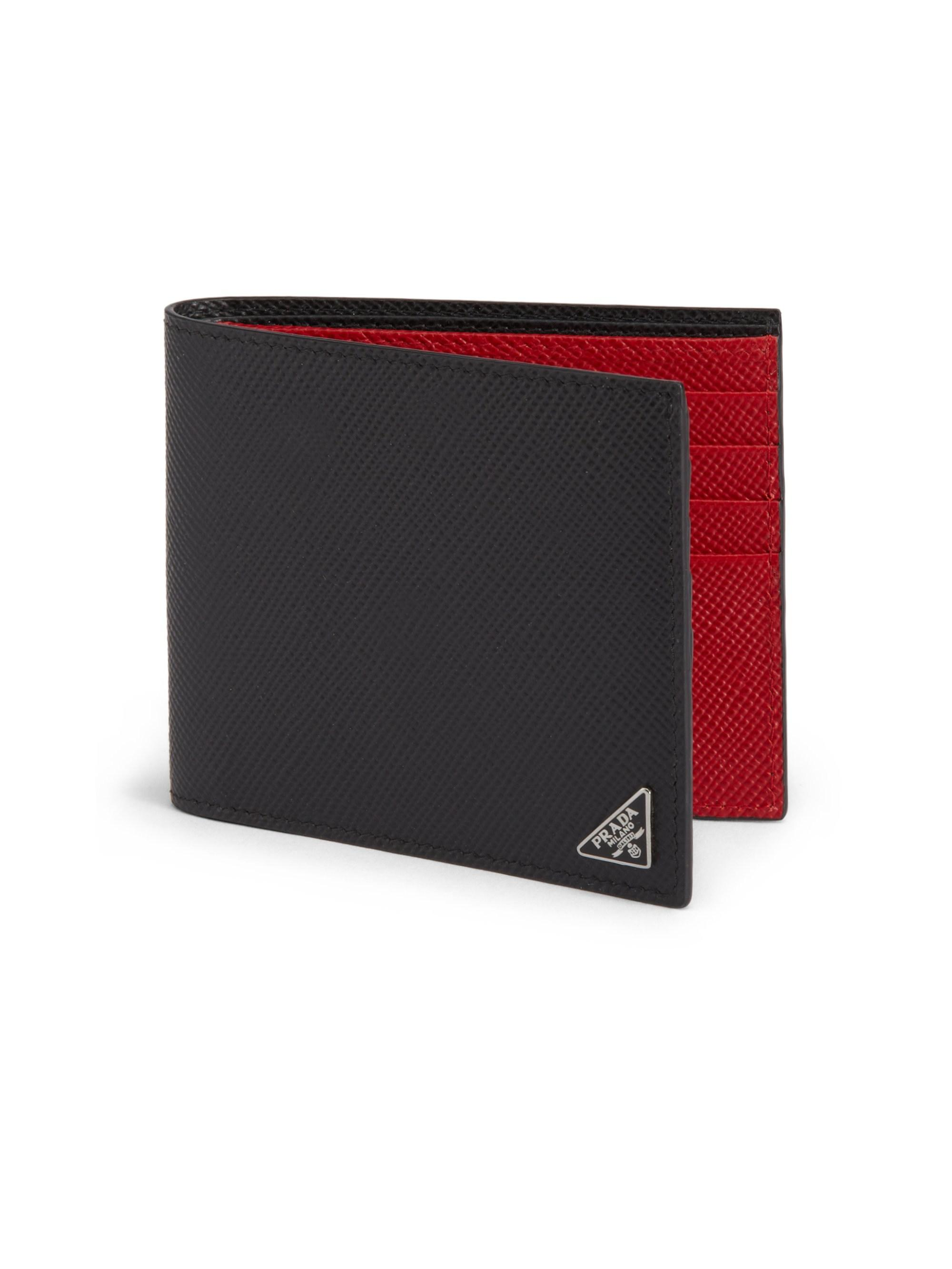 aea023270c66 Prada Men's Saffiano Cuir Billfold Wallet - Black/red in Black for ...