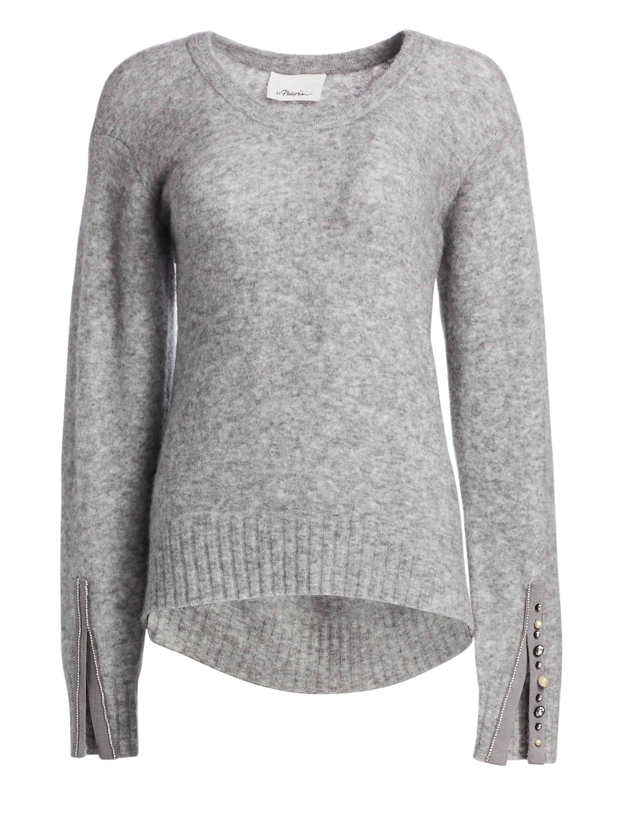 3.1 Phillip Lim. Women s Gray Embellished Split-cuff Roundneck Alpaca  Sweater.  495  297 From Saks Fifth Avenue f93771693